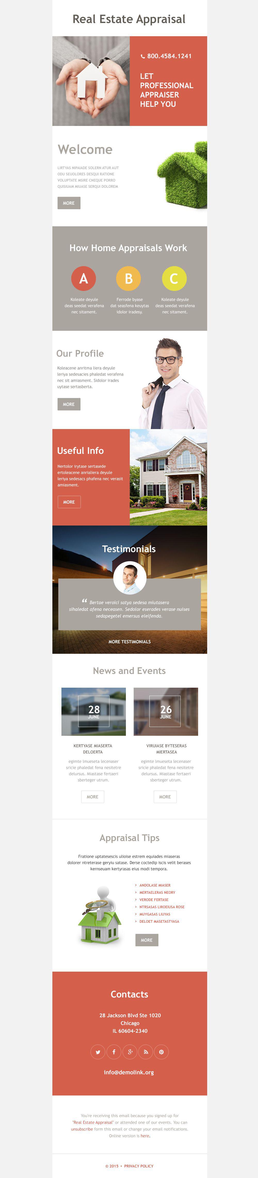 Plantilla De Boletín De Noticias Responsive para Sitio de Agencias inmobiliarias #55008