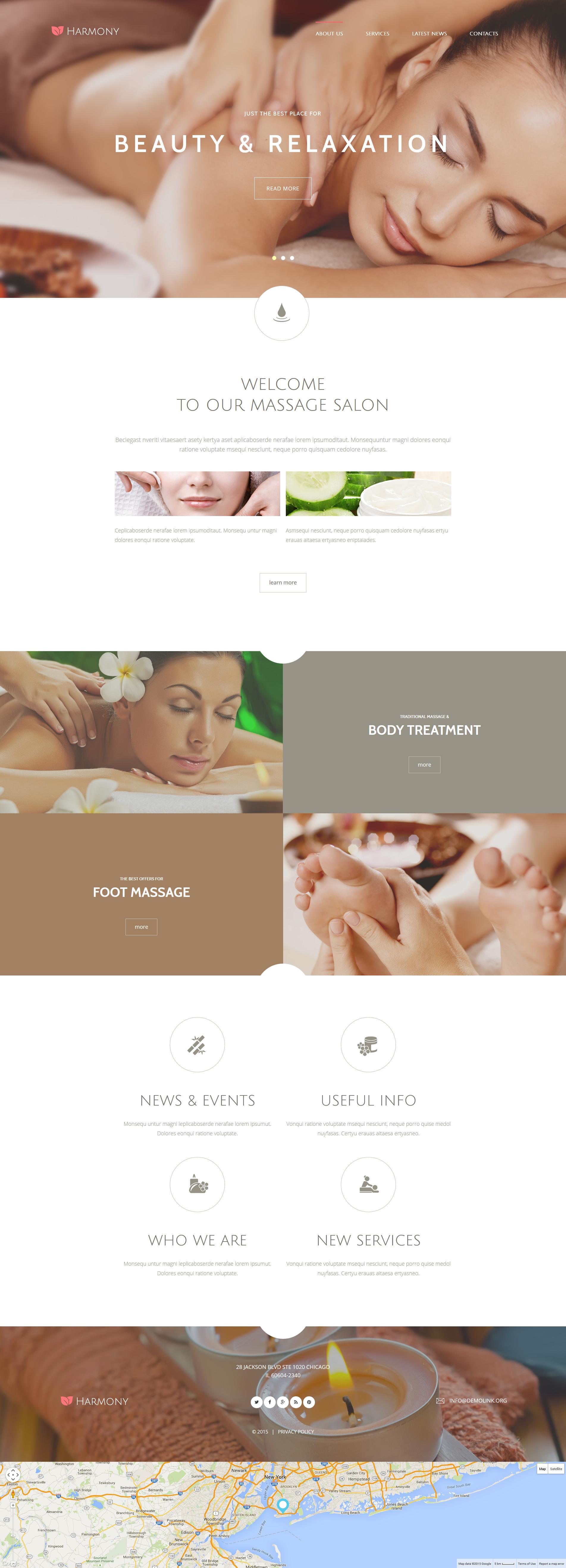 "Plantilla Joomla ""Harmony - Massage Salon Responsive Elegant"" #55058"