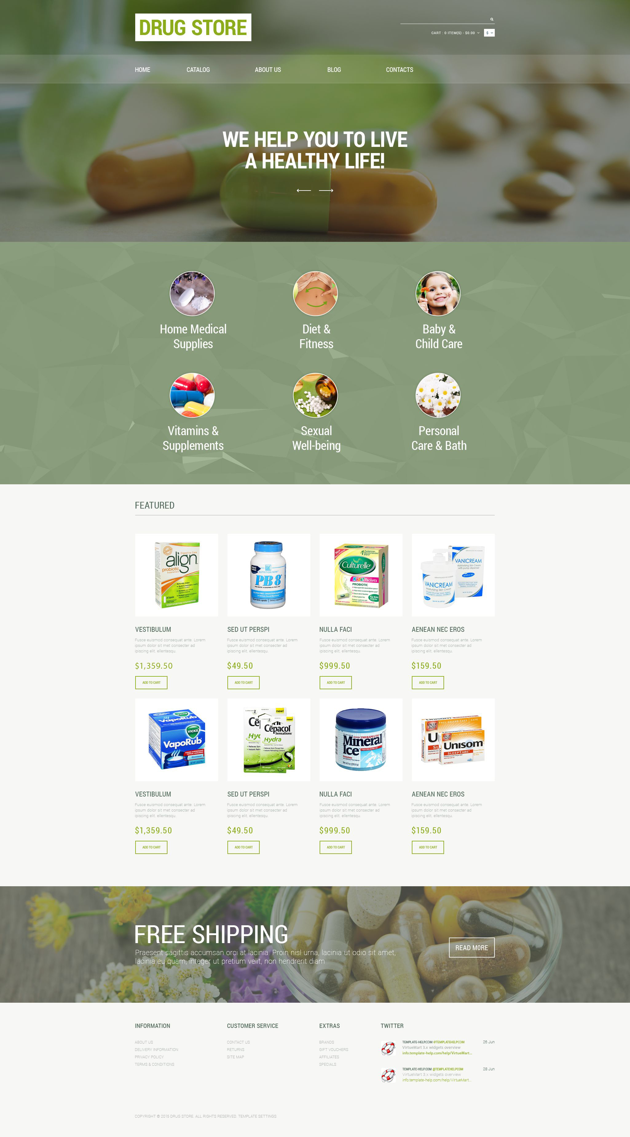 Plantilla VirtueMart #55070 para Sitio de Farmacias