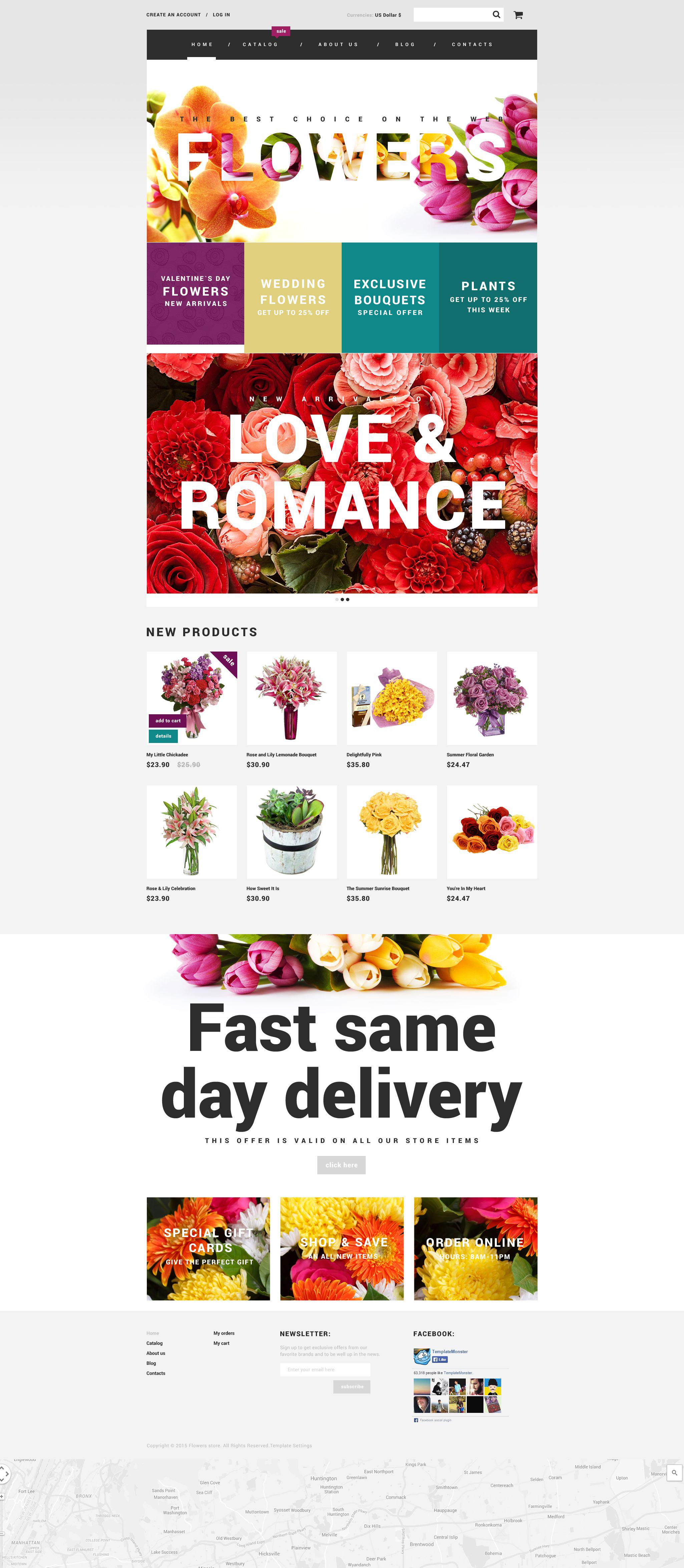 "Plantilla VirtueMart ""Flowers"" #55092"