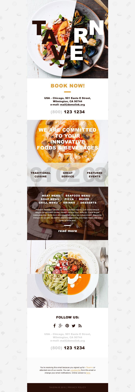 Responsive Newsletter Vorlage für Cafe und Restaurant #55080