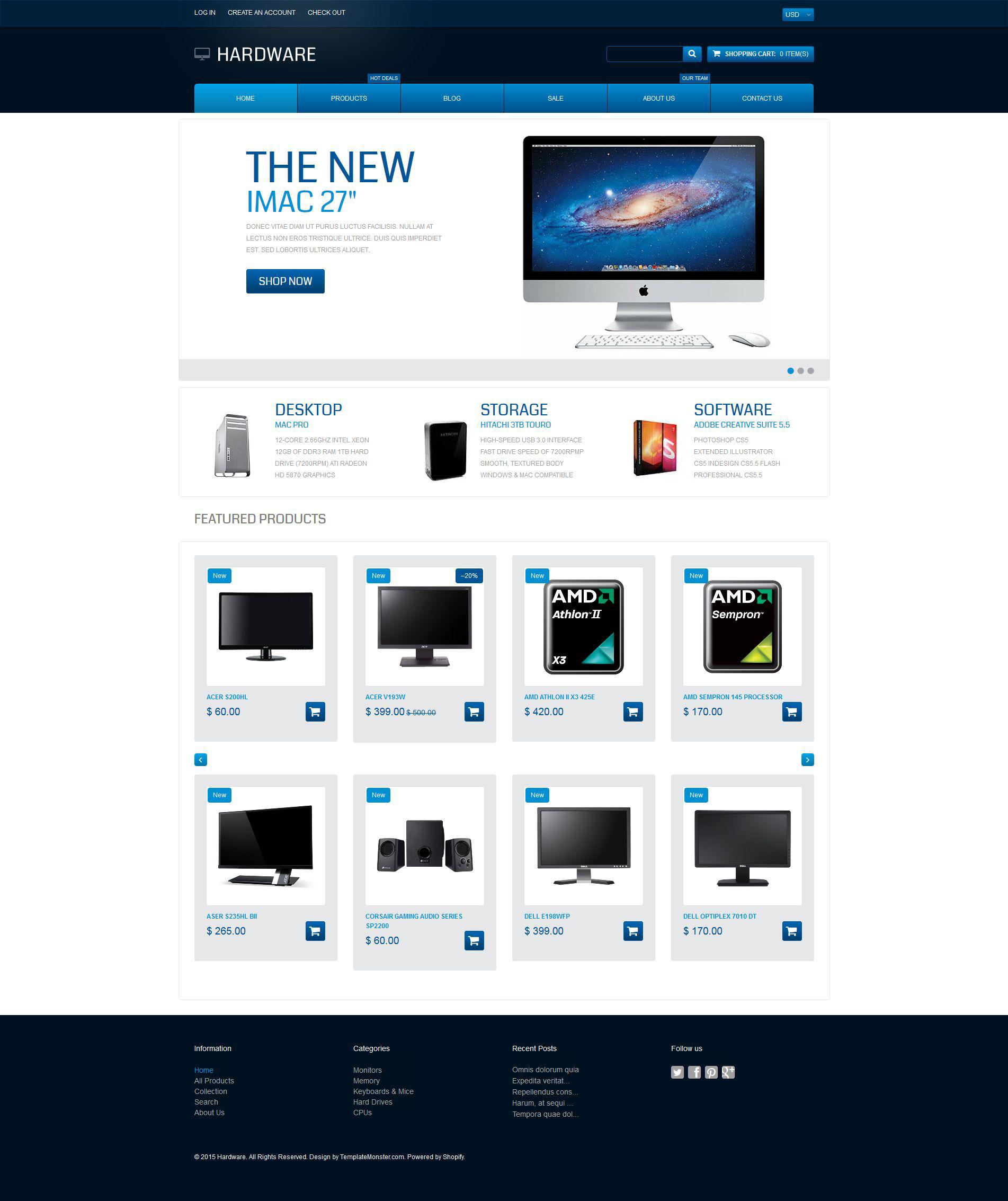 Responsywny szablon Shopify #55072 na temat: sklep komputerowy