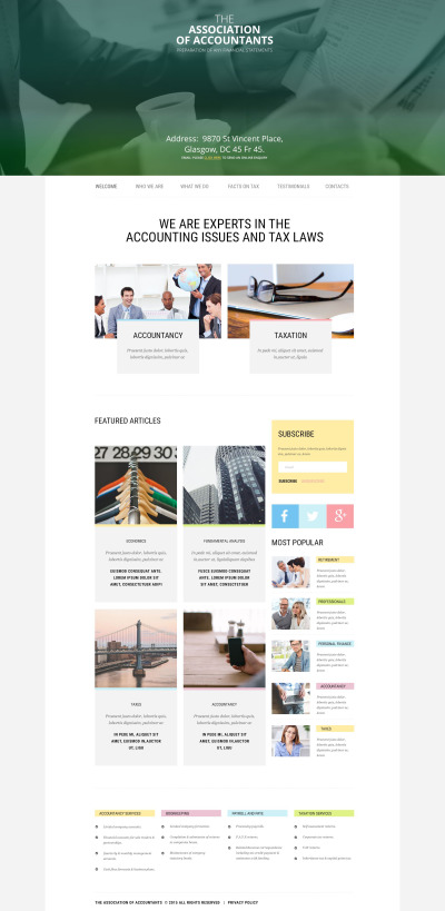 Accounting Website Responsive Šablona Webových Stránek