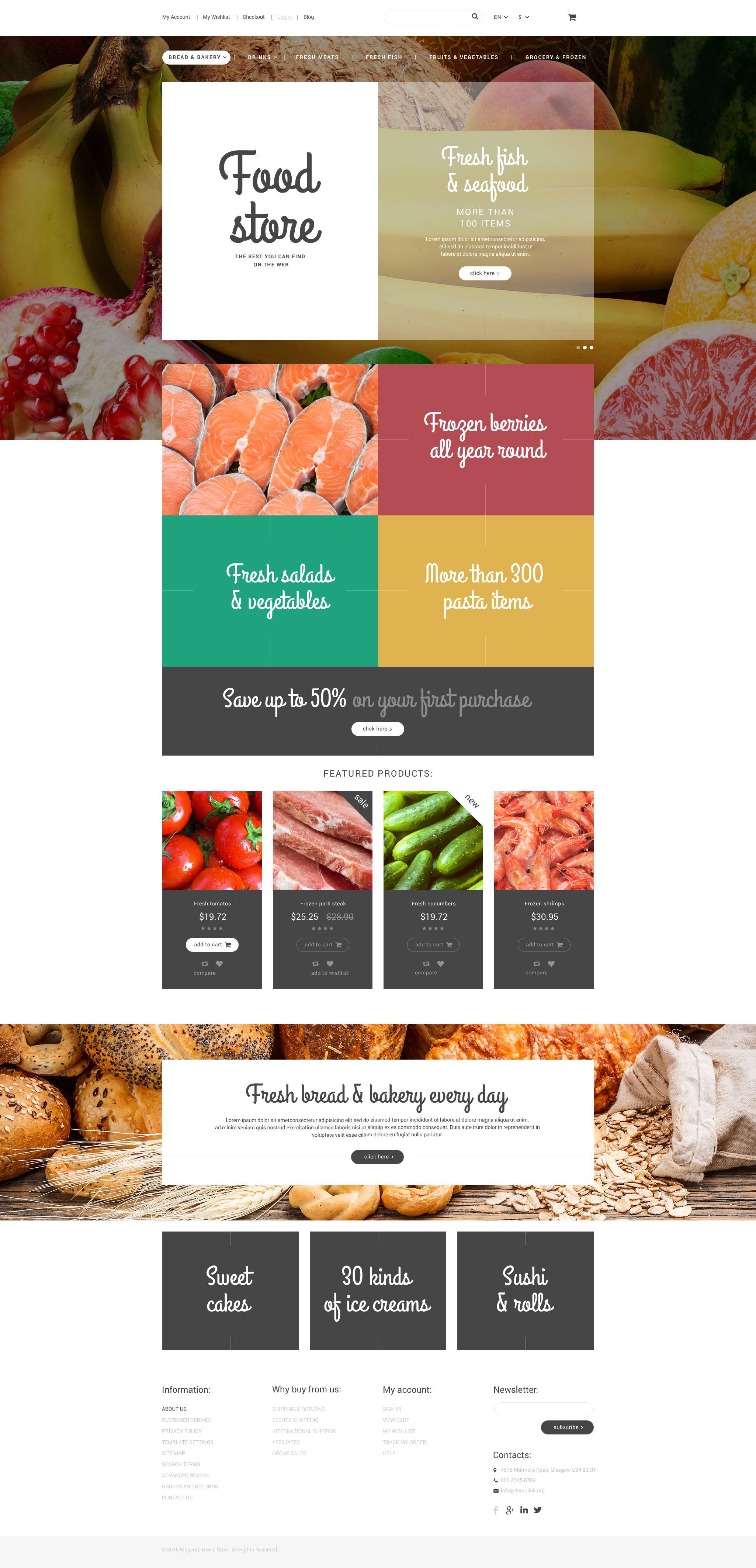 Reszponzív Food Store Magento sablon 55004 - képernyőkép
