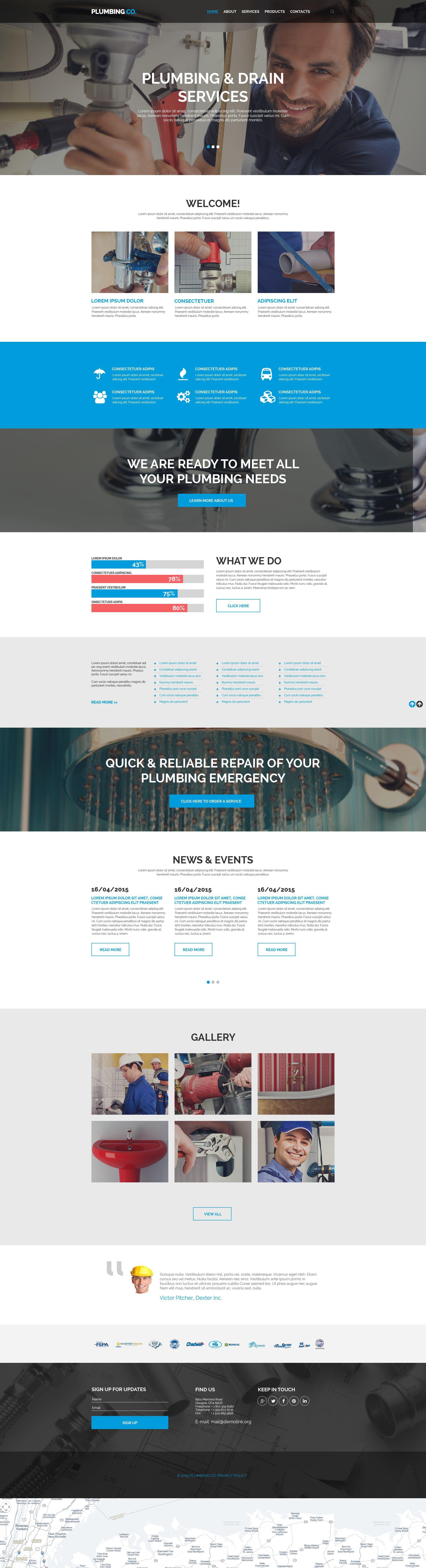 Reszponzív Vízvezetékszerelés témakörű Weboldal sablon 55096