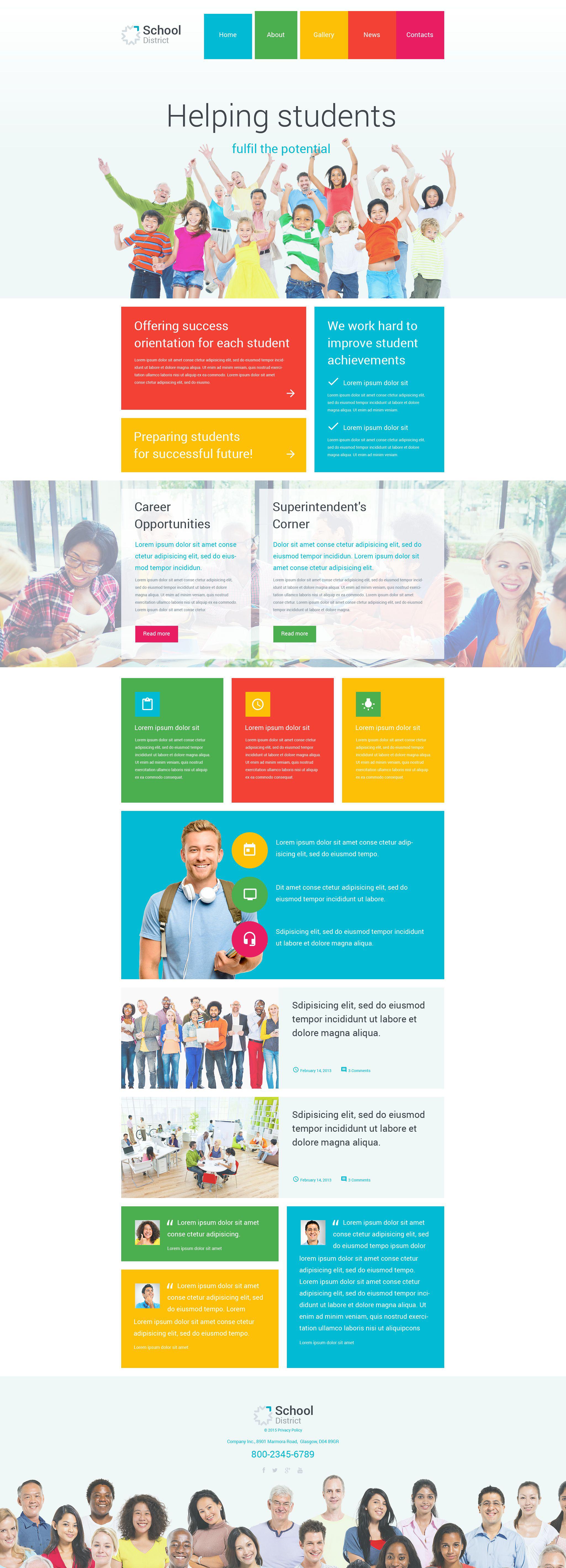 """""""School District"""" - адаптивний WordPress шаблон №55026 - скріншот"""