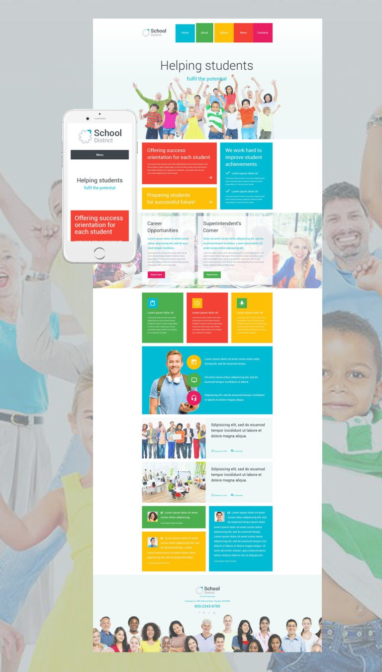 School District WordPress Theme New Screenshots BIG