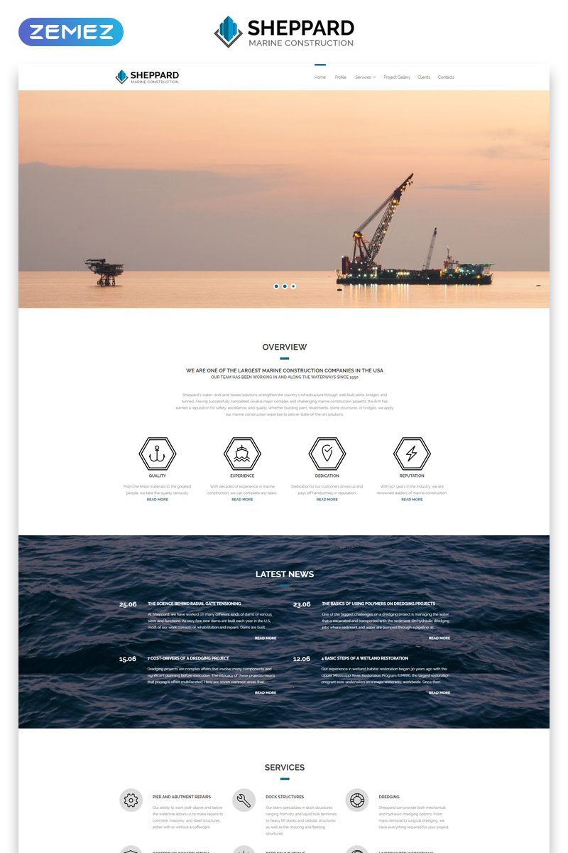 """Sheppard - Marine Construction Responsive Classic HTML5"" Responsive Website template №55098"