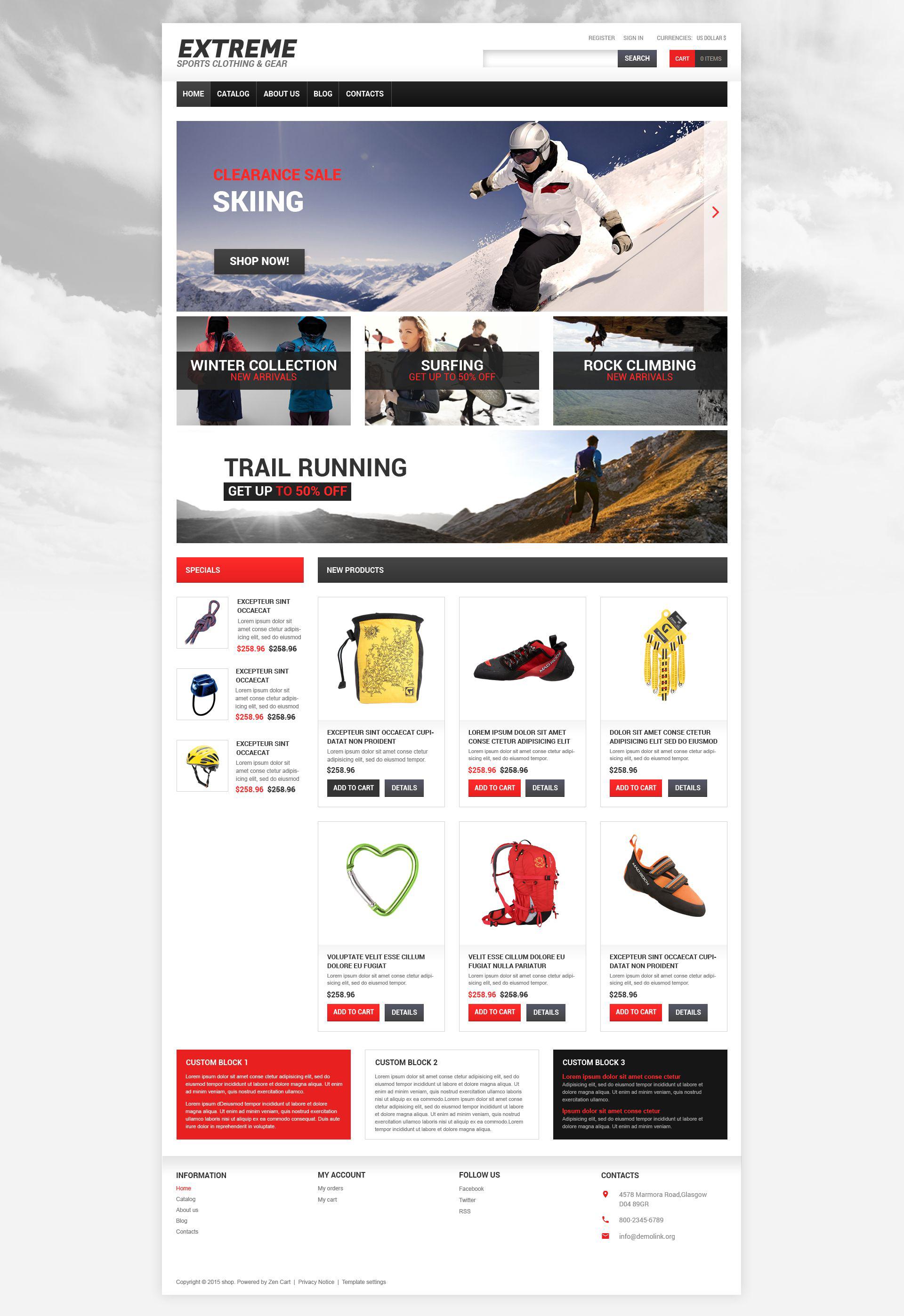 Szablon VirtueMart #55011 na temat: sporty ekstremalne