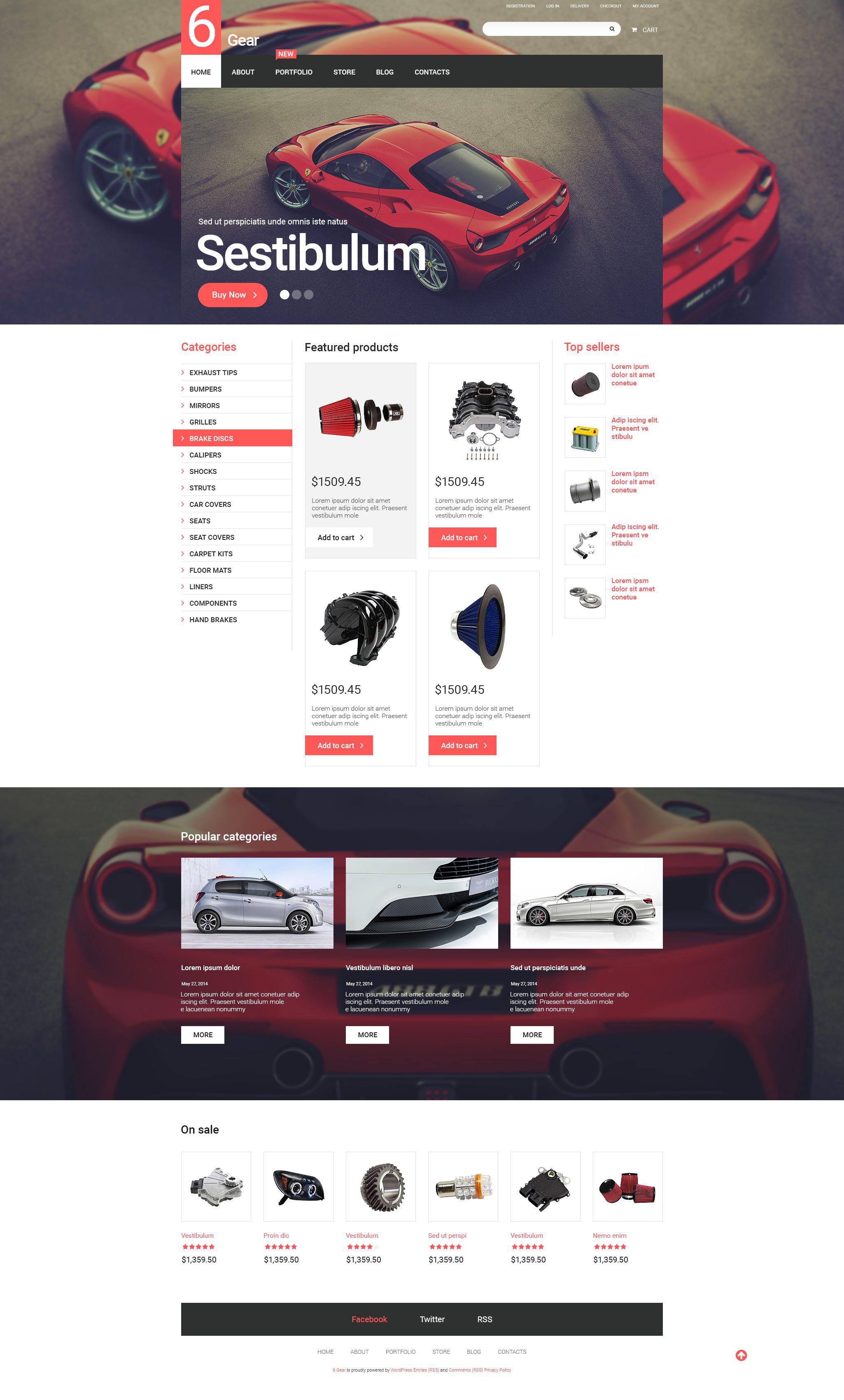 "Tema WooCommerce ""6 Gear"" #55066"