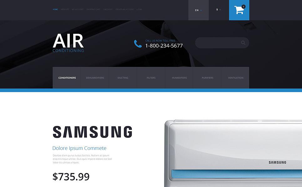 Template OpenCart Responsive #55093 per Un Sito di Aria Condizionata New Screenshots BIG