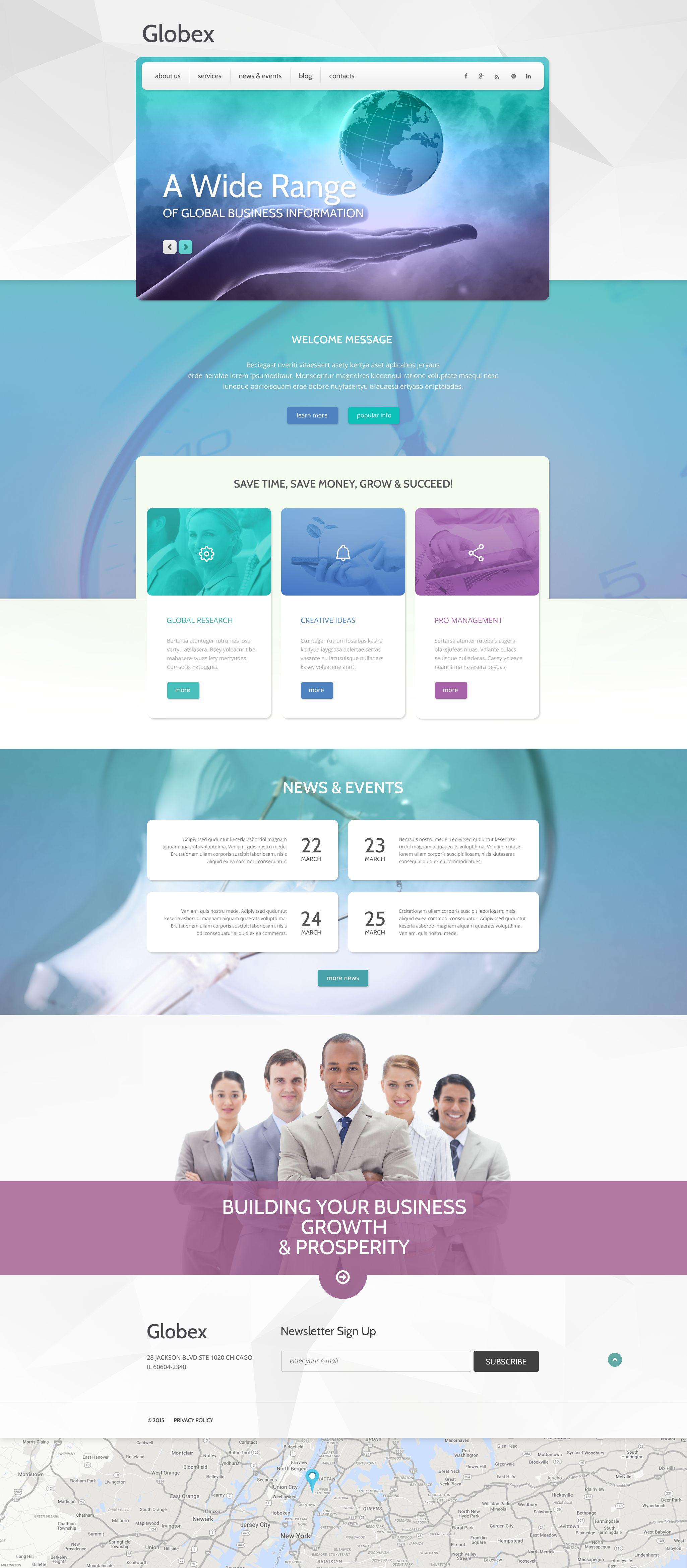 "Template WordPress Responsive #55042 ""Globex"" - screenshot"