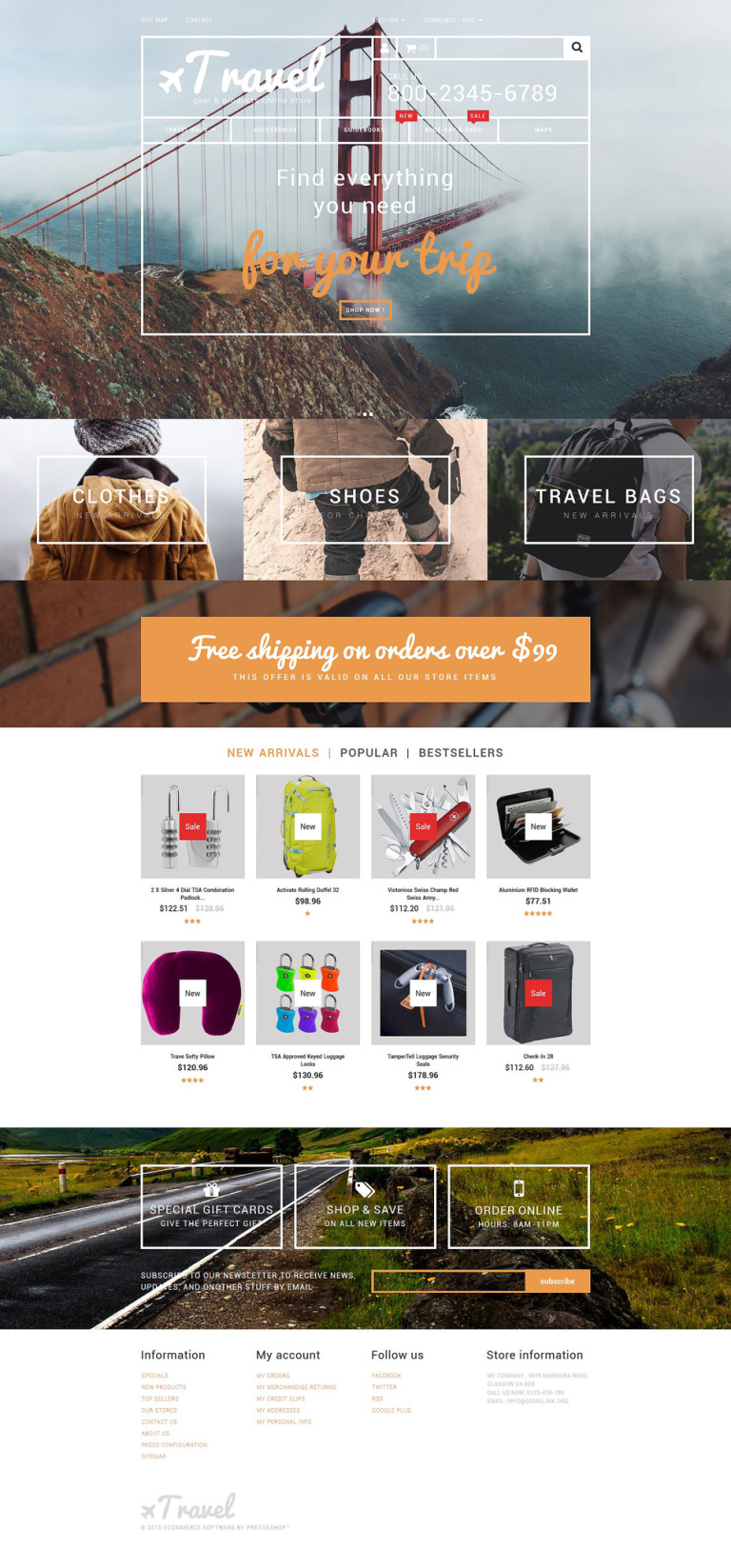 Travel Gear Store PrestaShop Theme New Screenshots BIG