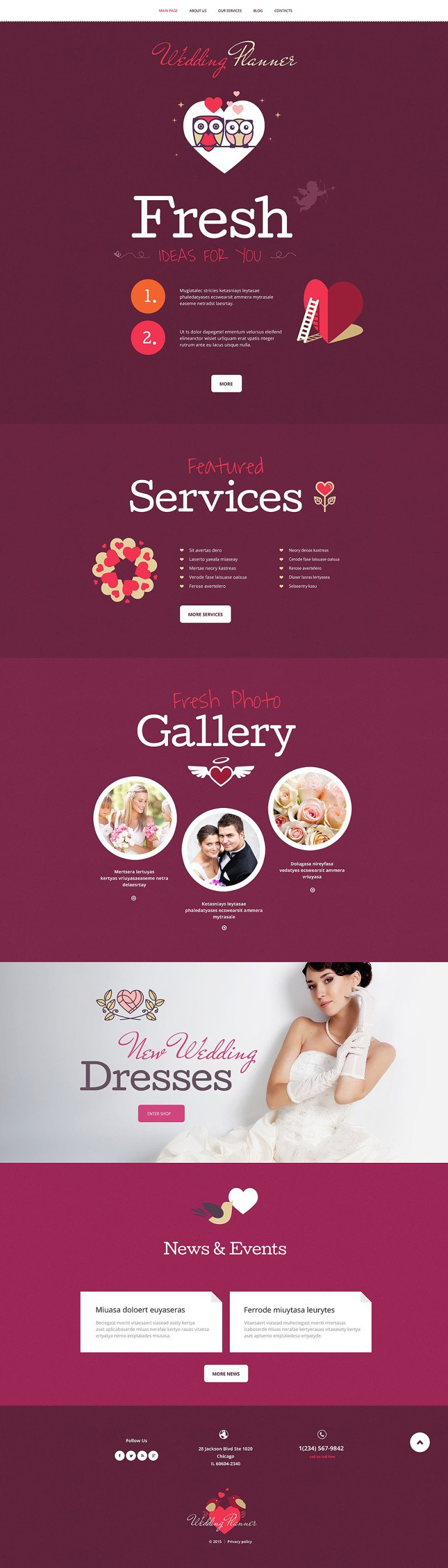 Wedding Planner WordPress Theme New Screenshots BIG
