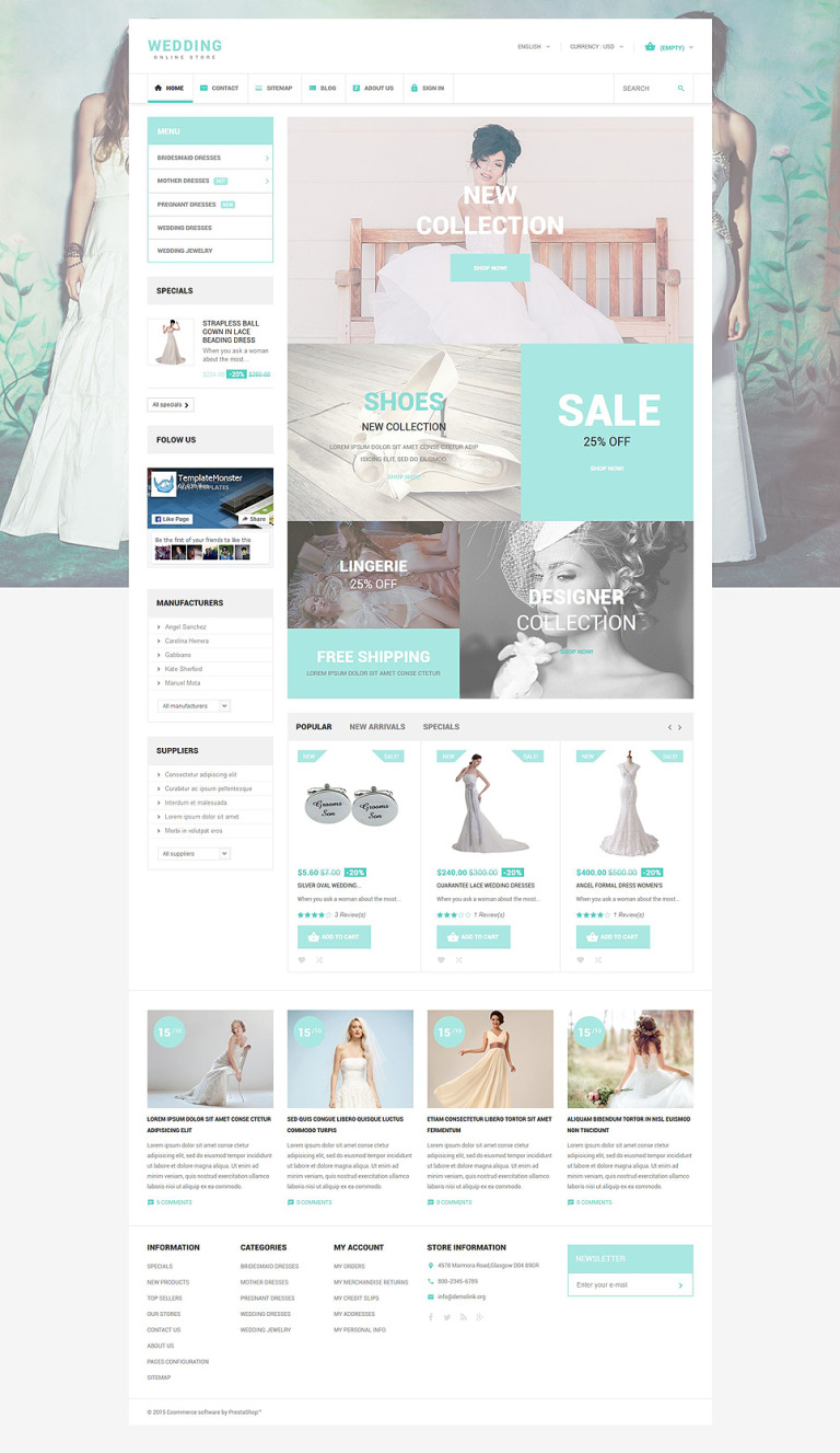Wedding PrestaShop Theme New Screenshots BIG