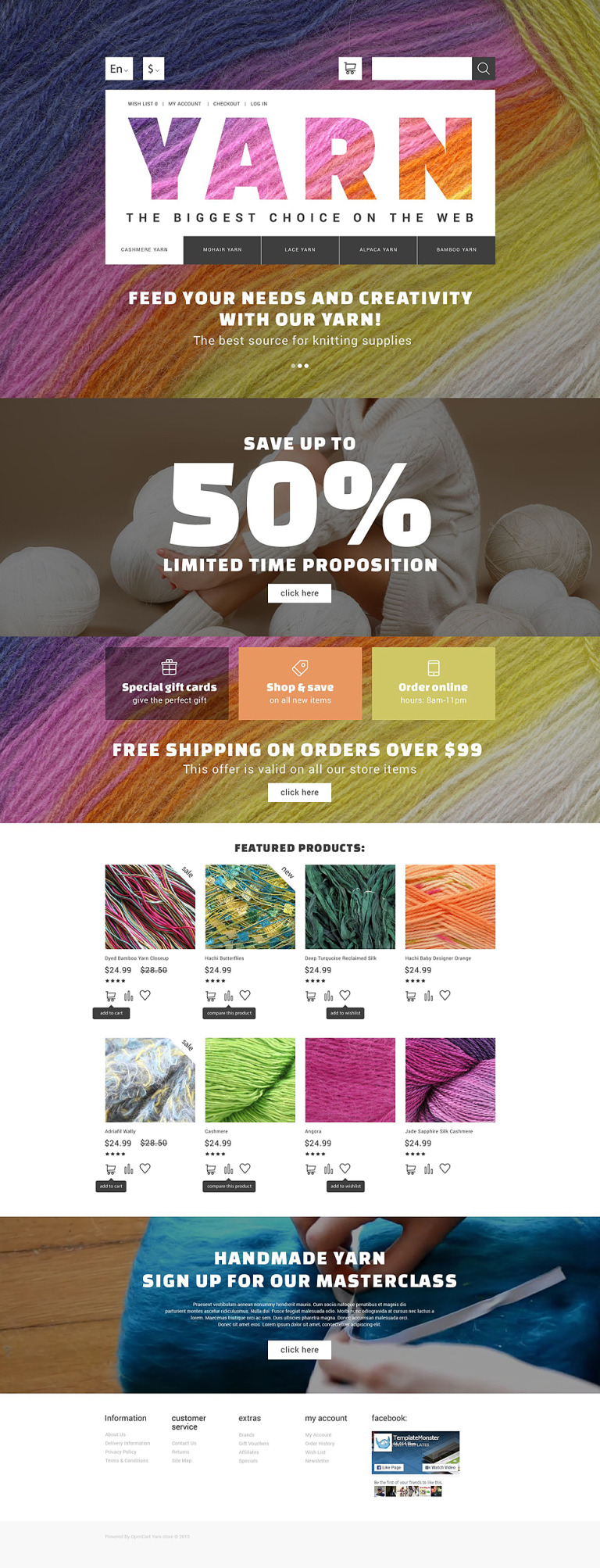 Yarn Online Store OpenCart Template New Screenshots BIG