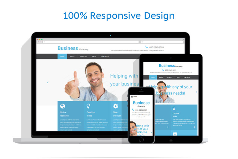 Free business responsive website template this free sample provides a user friendly navigation by means of a well defined layout sticky dropdown menu and back to top button wajeb Choice Image