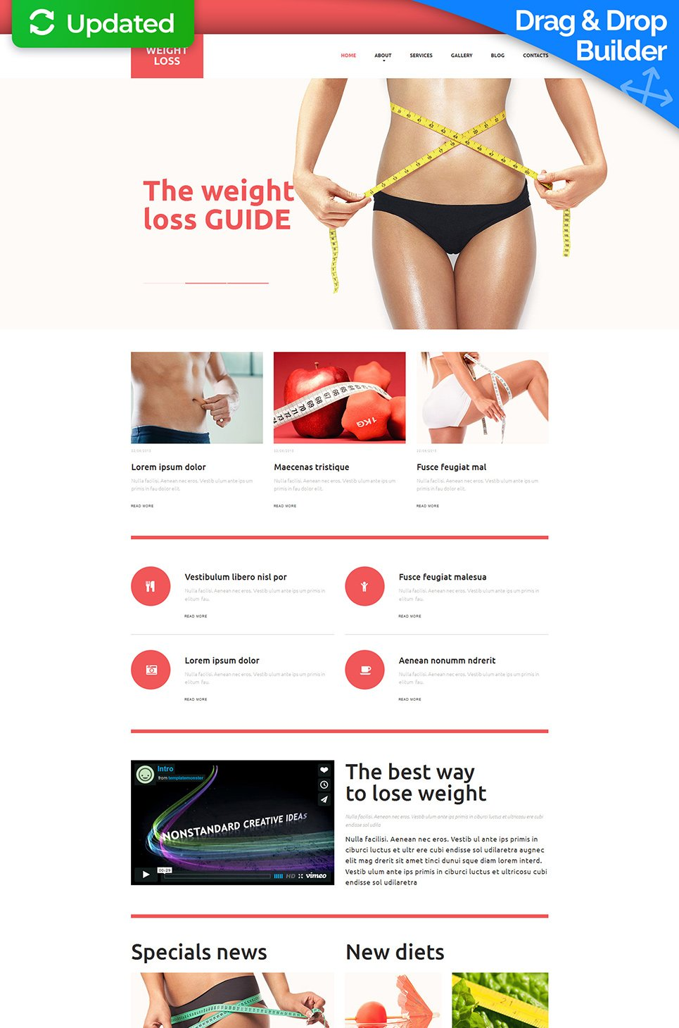 Website template for nutrition specialists