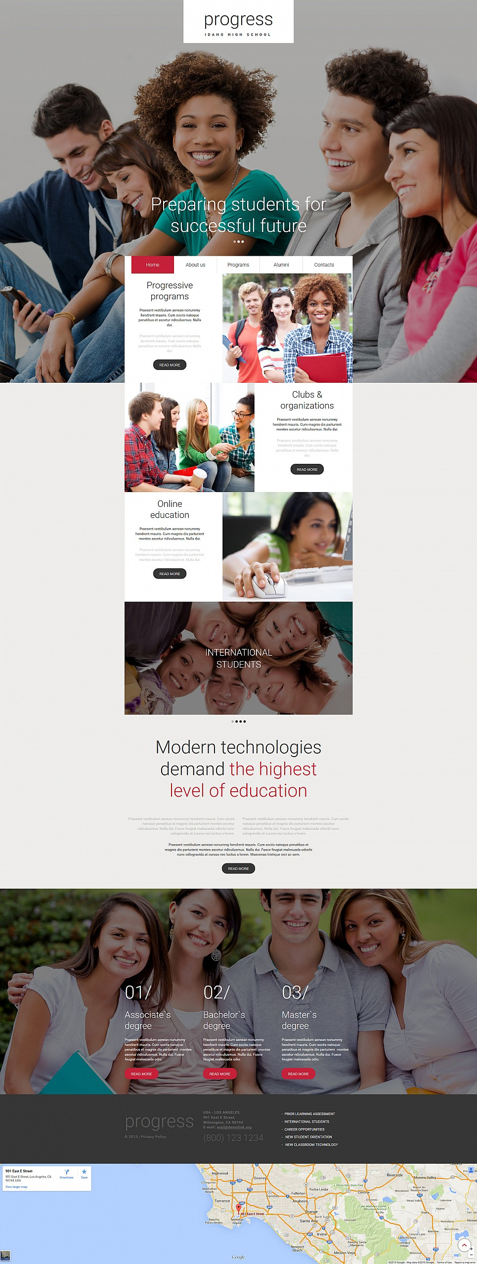 Responsive website template for education