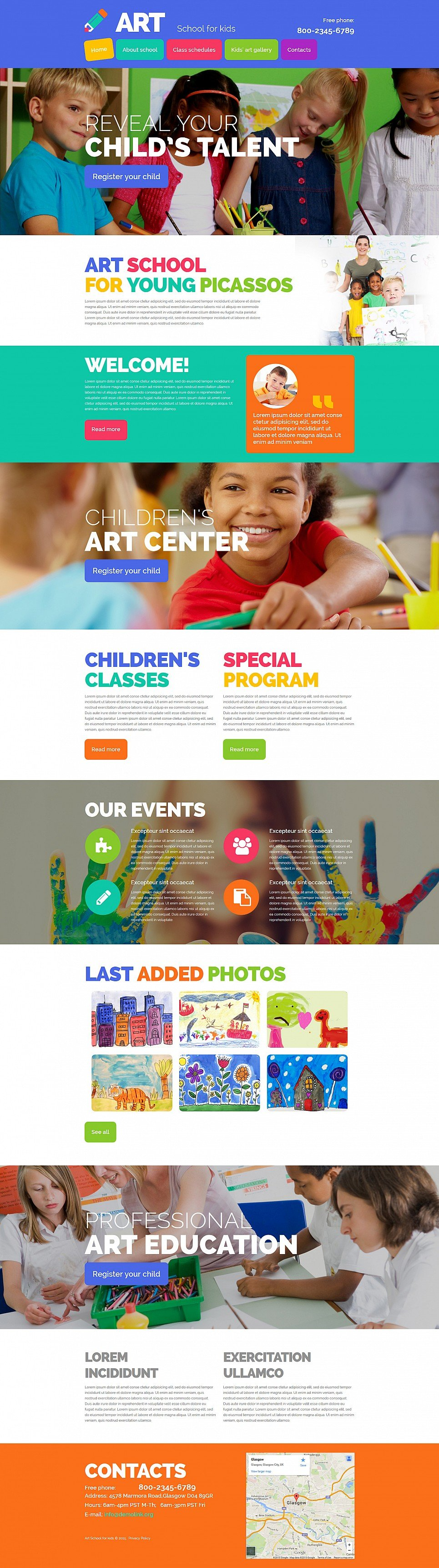 Web design for child school of art site