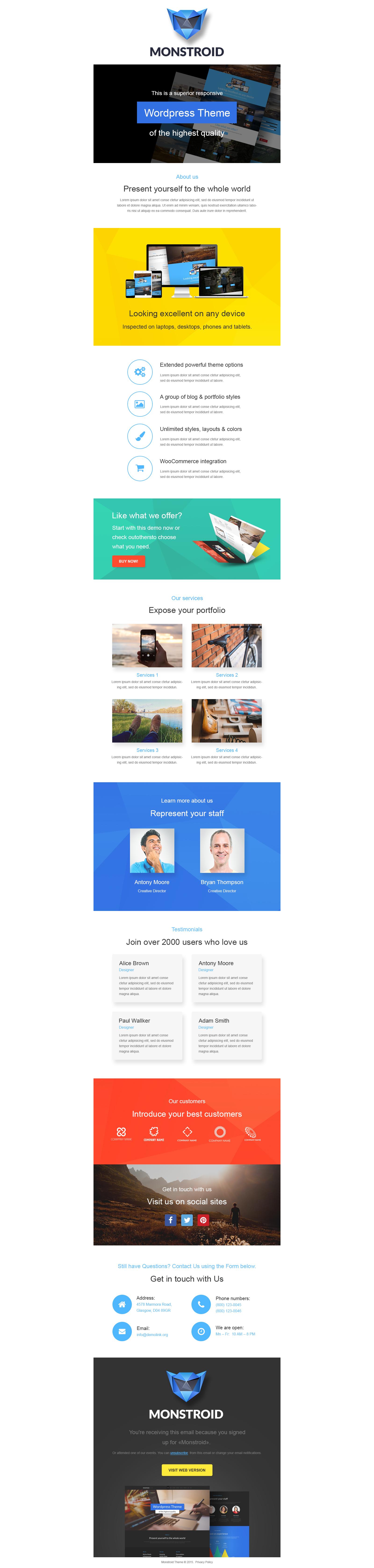 Адаптивный Шаблон рассылки №55166 на тему бизнес и услуги