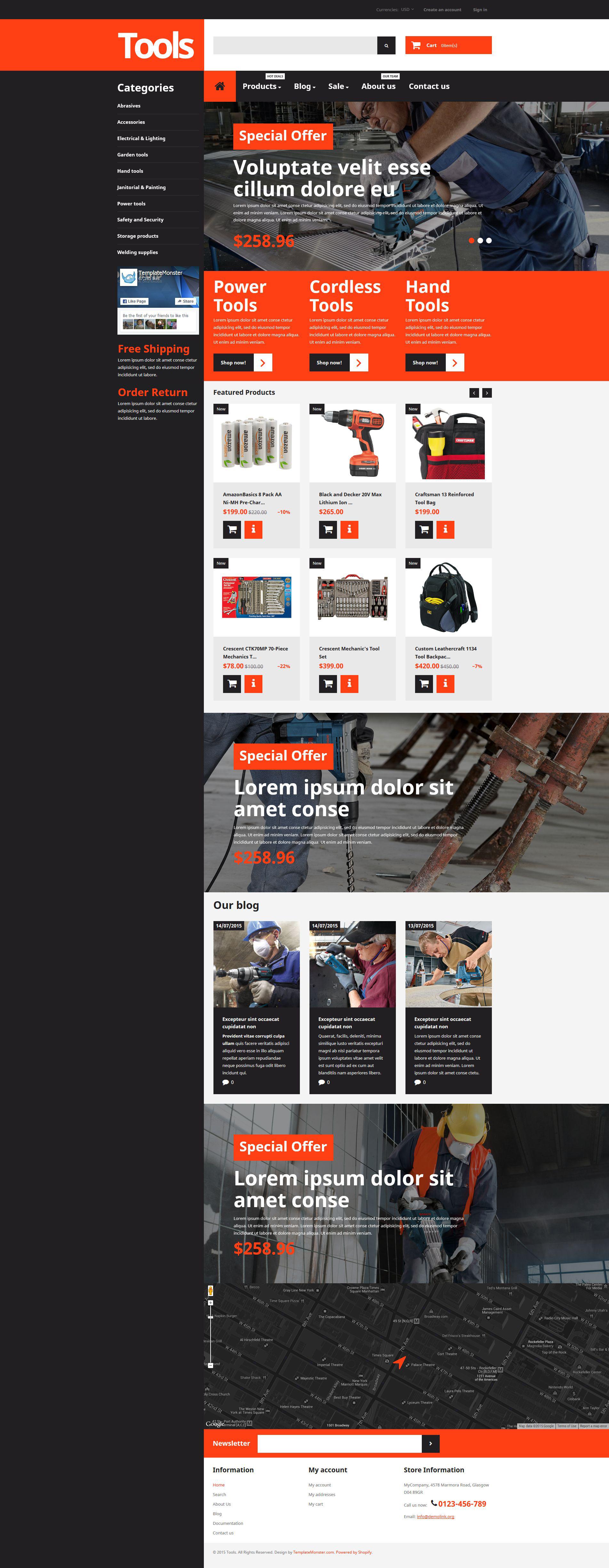 Адаптивный Shopify шаблон №55111 на тему инструменты и оборудование