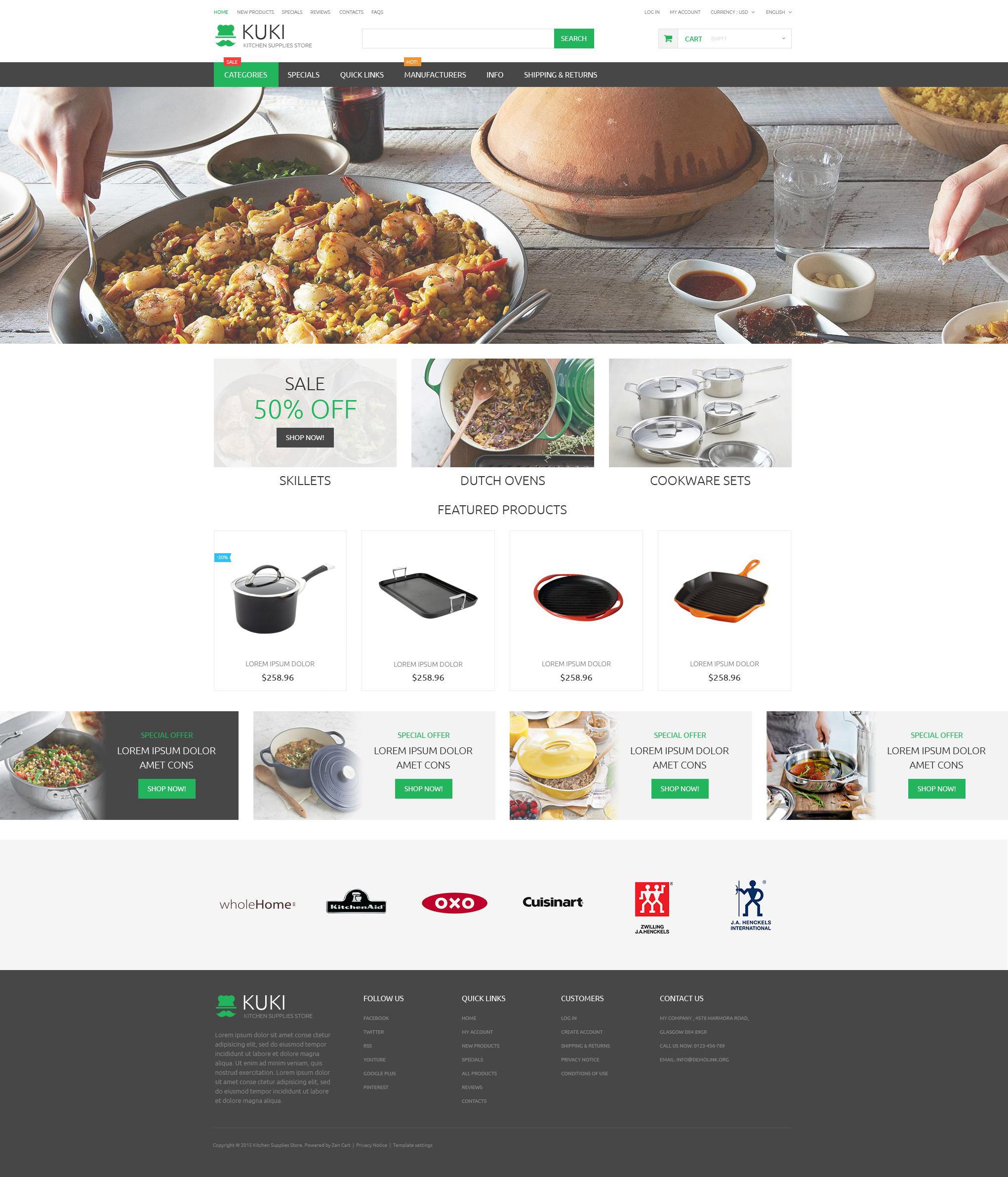 Адаптивный ZenCart шаблон №55145 на тему хозяйственные принадлежности - скриншот