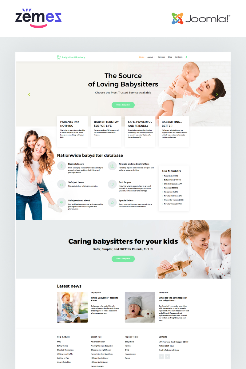 """Babysitter Directory - Babysitter Ready-to-Use Clean"" Responsive Joomla Template №55180"