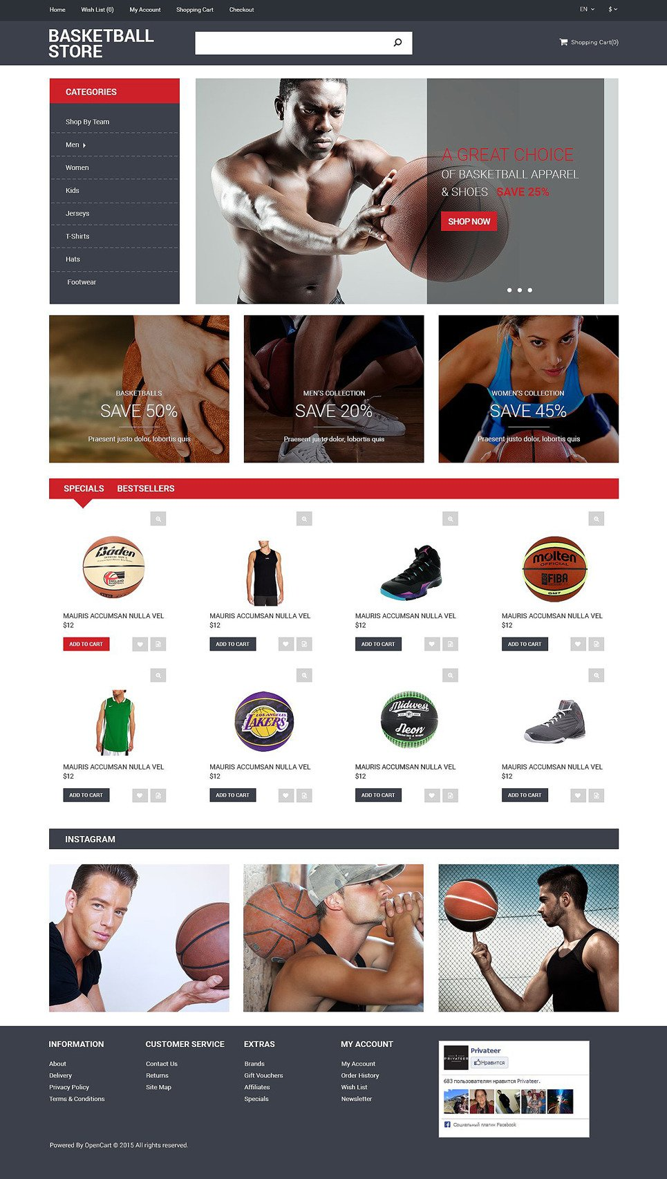 Basketball Store OpenCart Template New Screenshots BIG