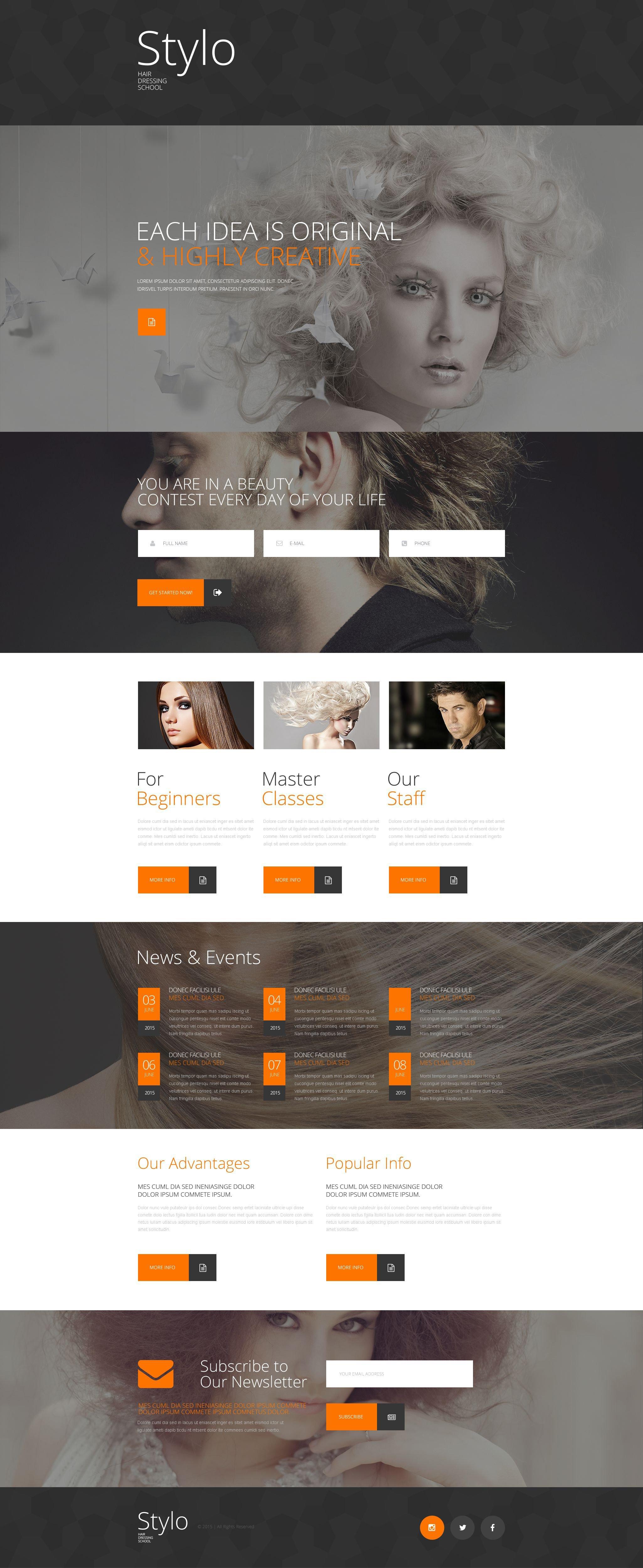 Beauty School Responsive Landing Page Template - screenshot