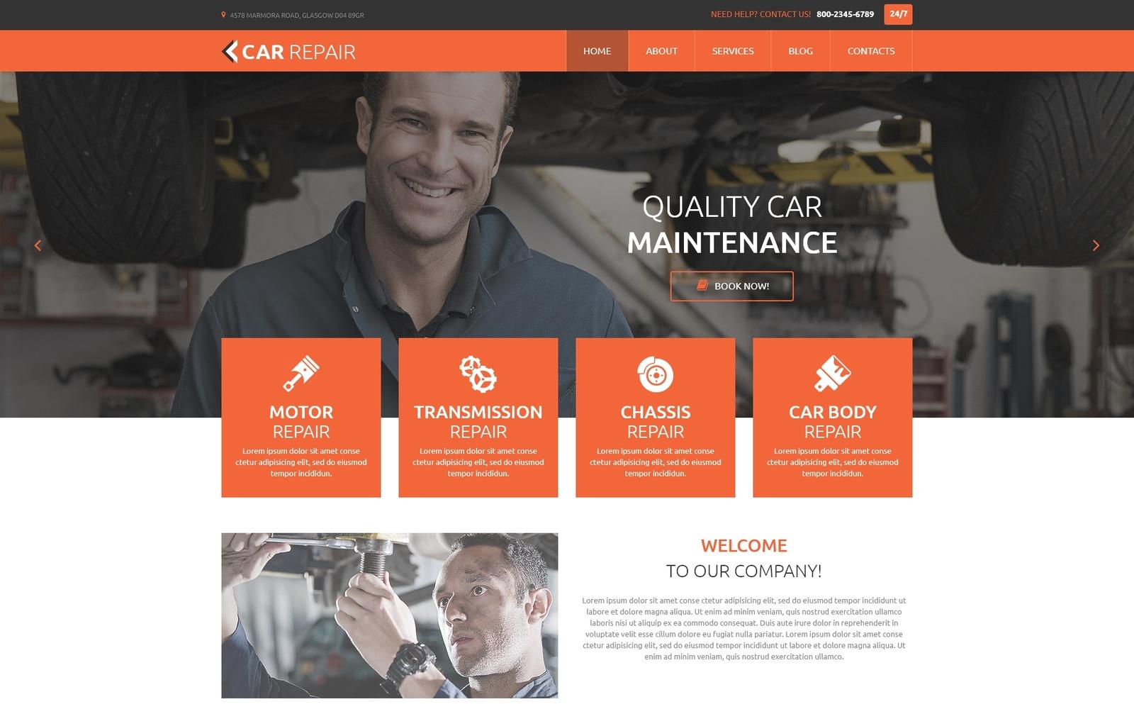 """""""Car Repair"""" Responsive Joomla Template №55179"""