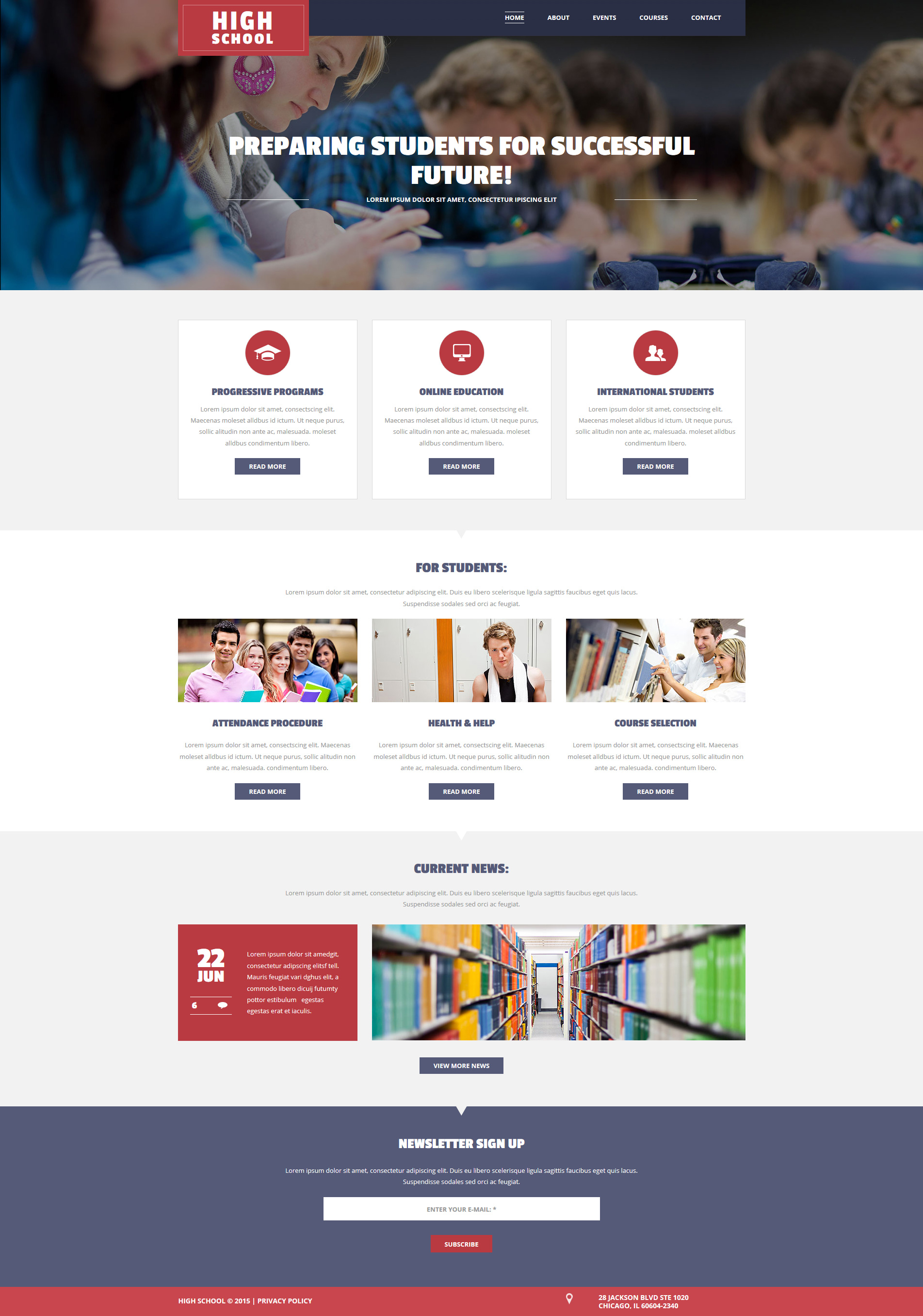 High School Website Builder   Responsive Moto CMS 3 Template #55140