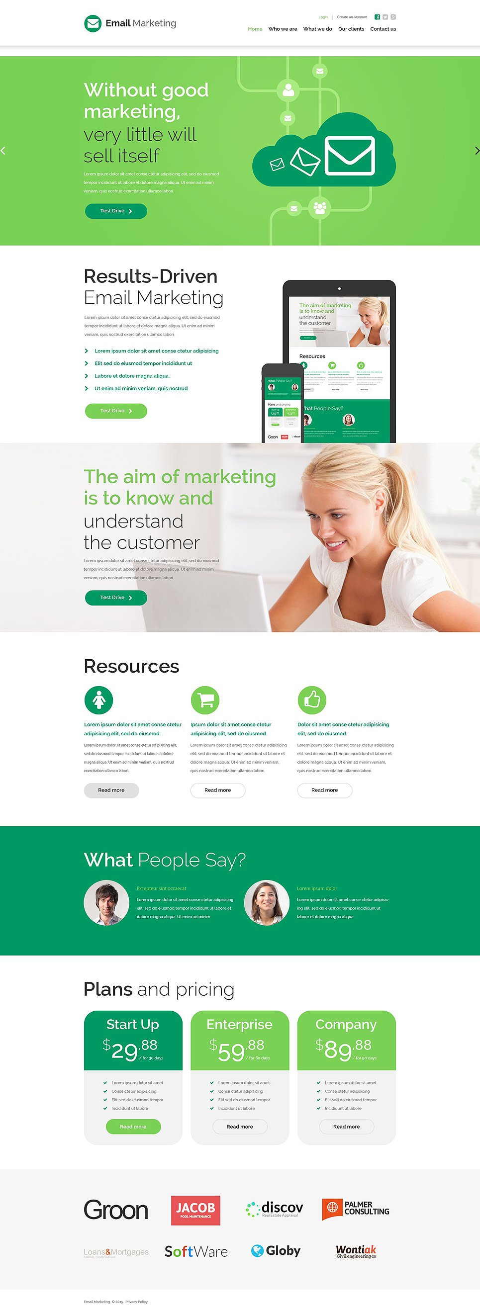 Marketing agency website template for Free promotional email templates