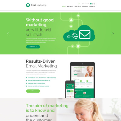Email Services Responsive Website Template - Web design email marketing templates