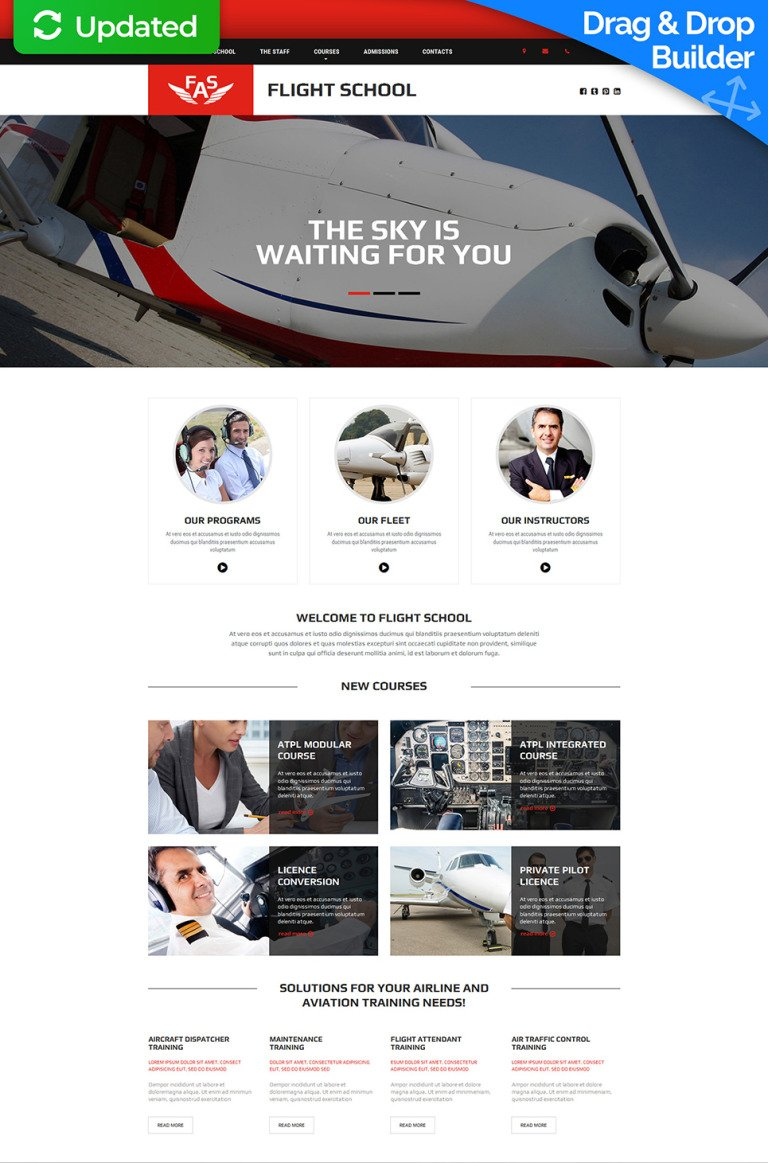 Flight School Responsive Moto CMS 3 Template New Screenshots BIG