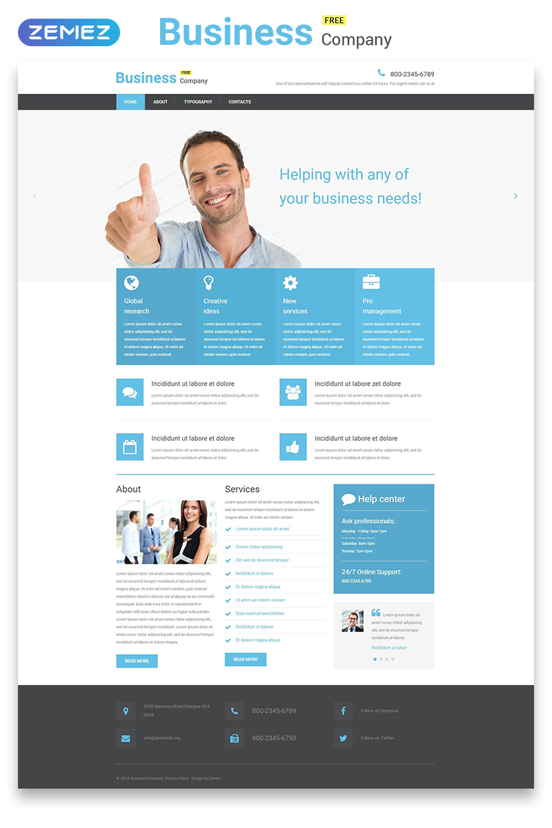 """Free Business Responsive Website Template"" 响应式网页模板 #55108"