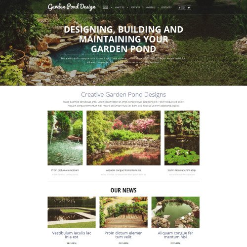 Garden Pond Design - MotoCMS 3 Template based on Bootstrap