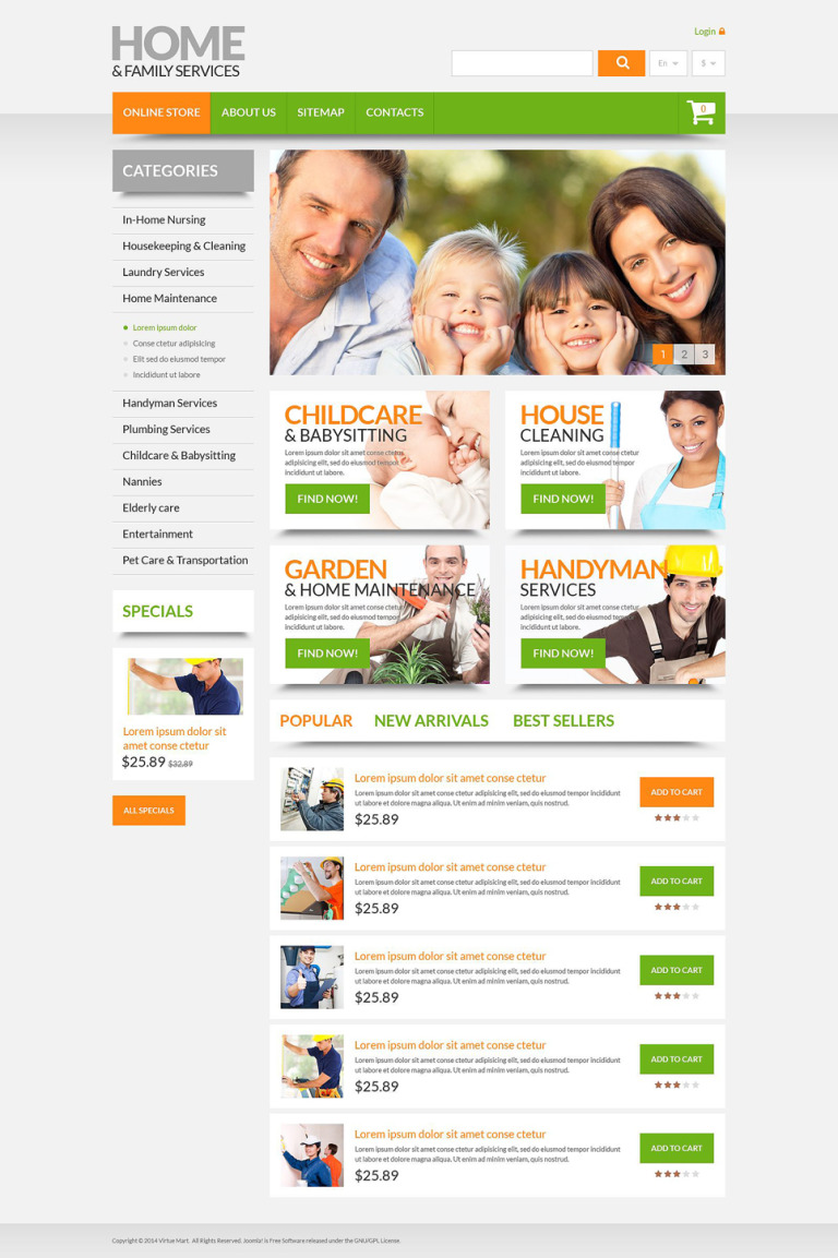 Home & Family Services PrestaShop Theme New Screenshots BIG