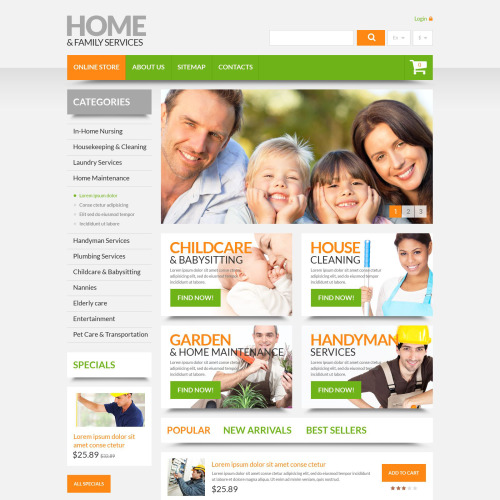 Home & Family Services - PrestaShop Template based on Bootstrap