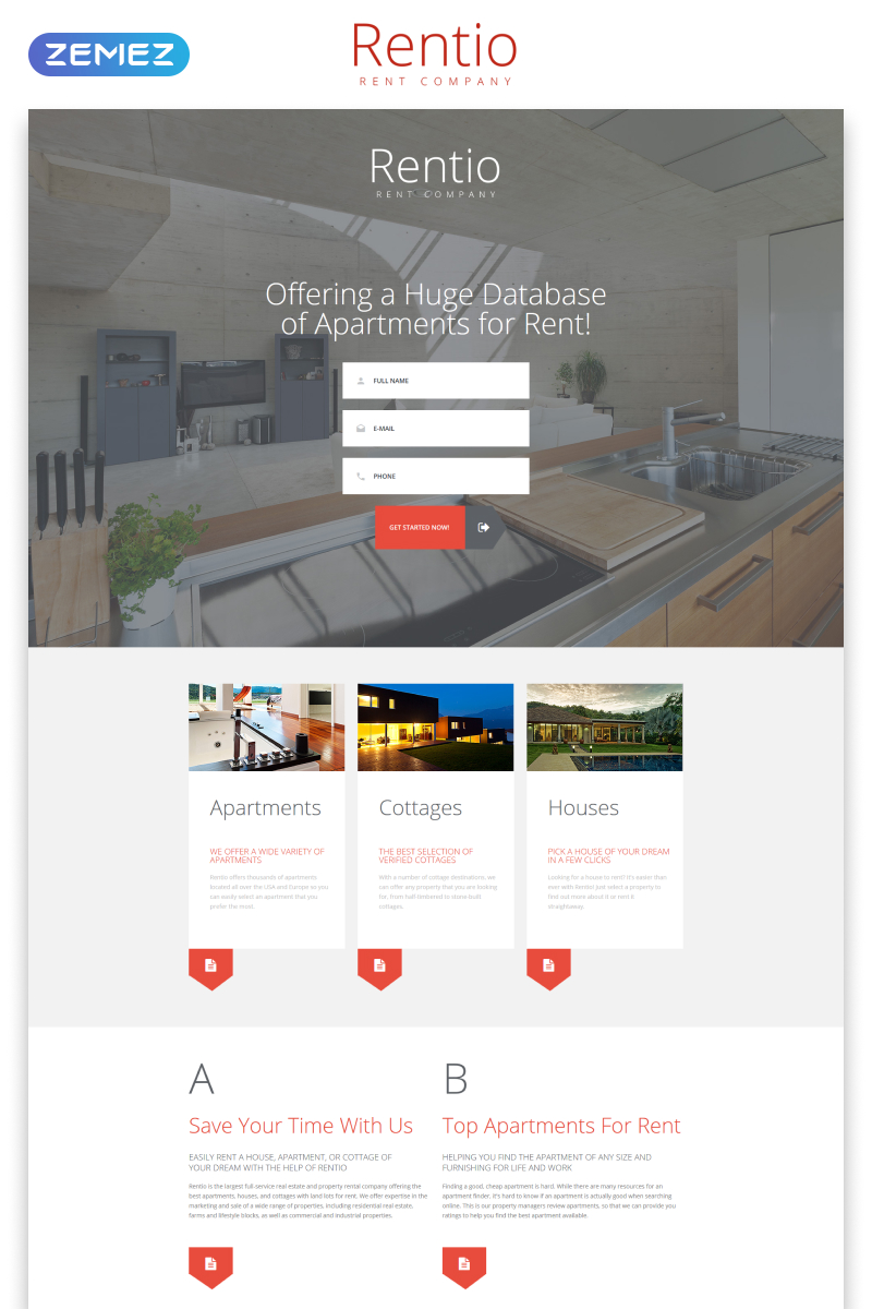 """Landing Page Template namens """"Rentio - Rent Company Clean HTML5"""" #55196 - Screenshot"""