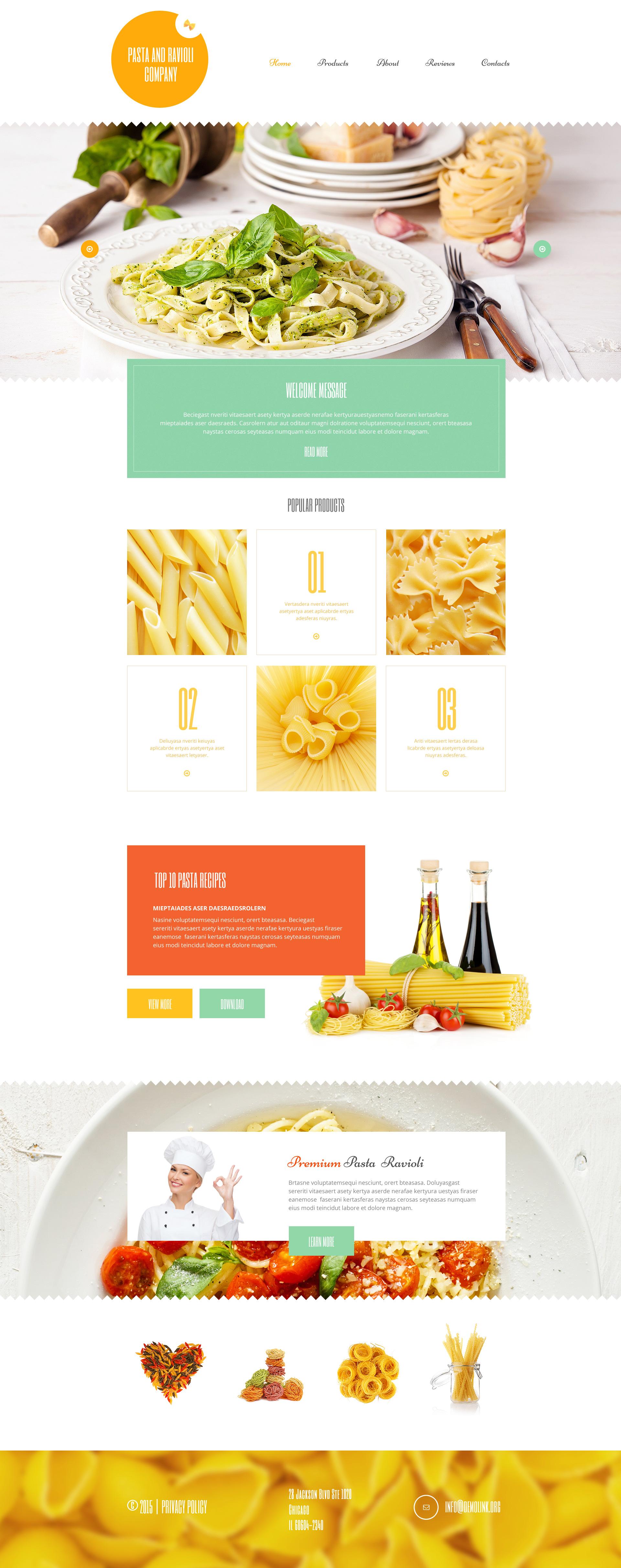 """Pasta and Ravioli Company"" - адаптивний WordPress шаблон №55187 - скріншот"
