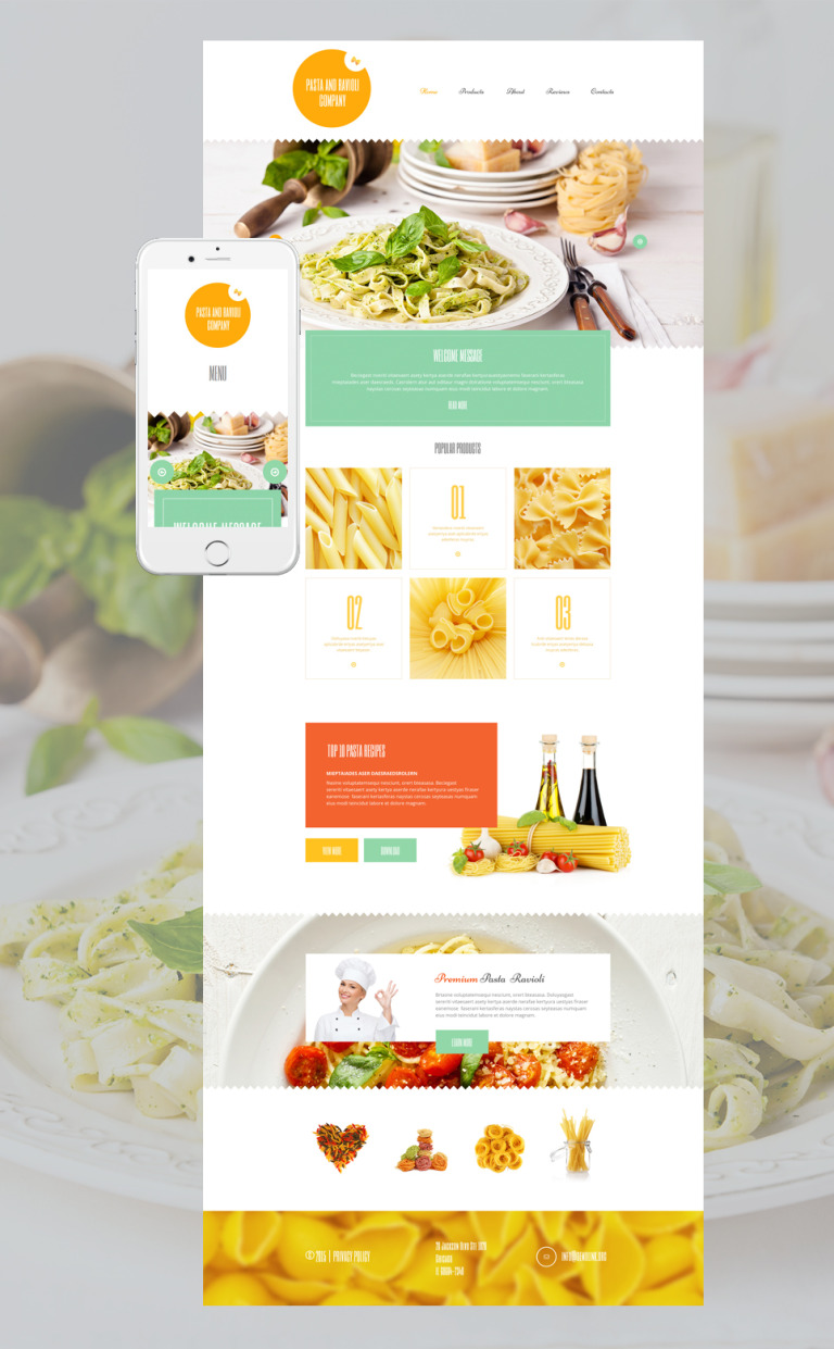Pasta and Ravioli Company WordPress Theme New Screenshots BIG