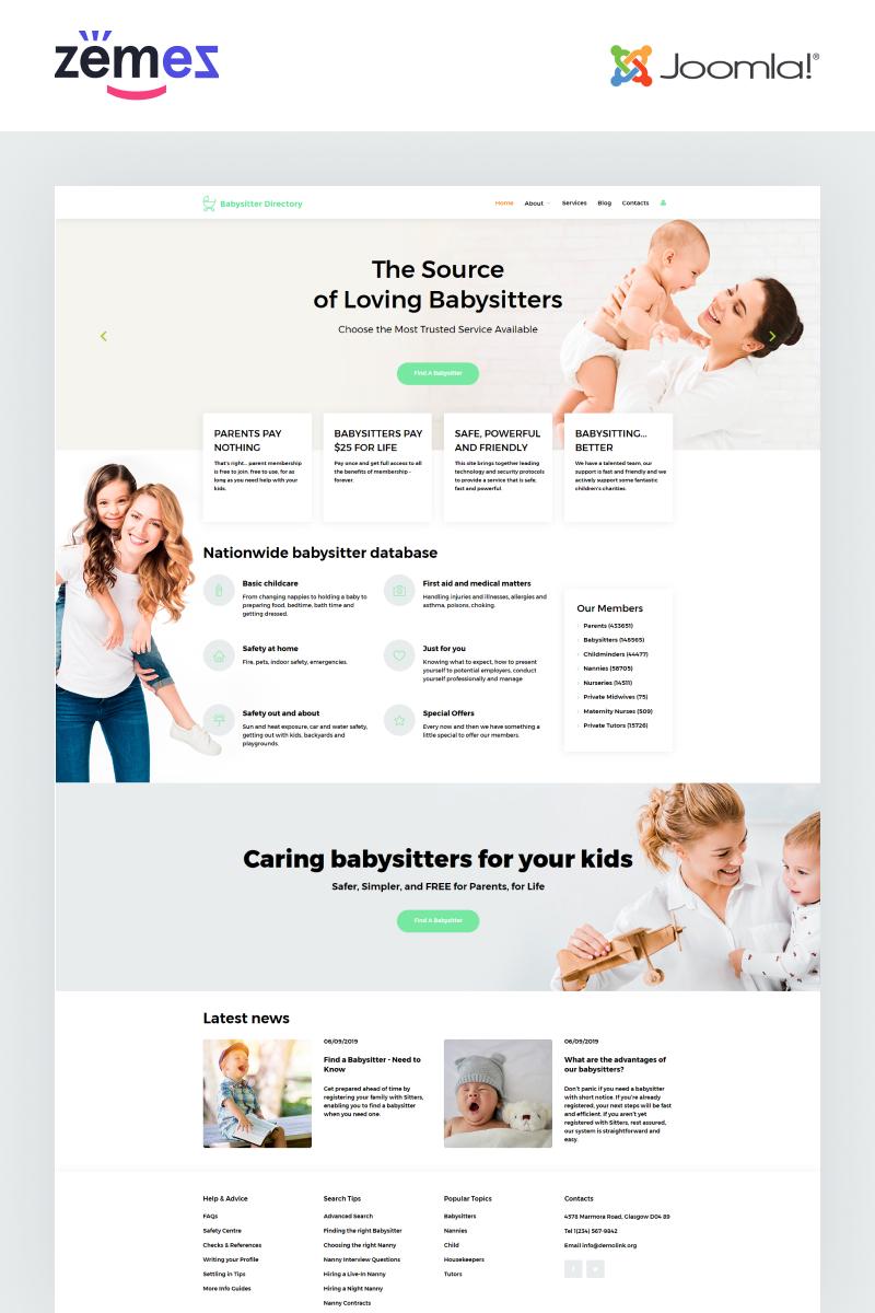 "Plantilla Joomla ""Babysitter Directory - Babysitter Ready-to-Use Clean"" #55180"