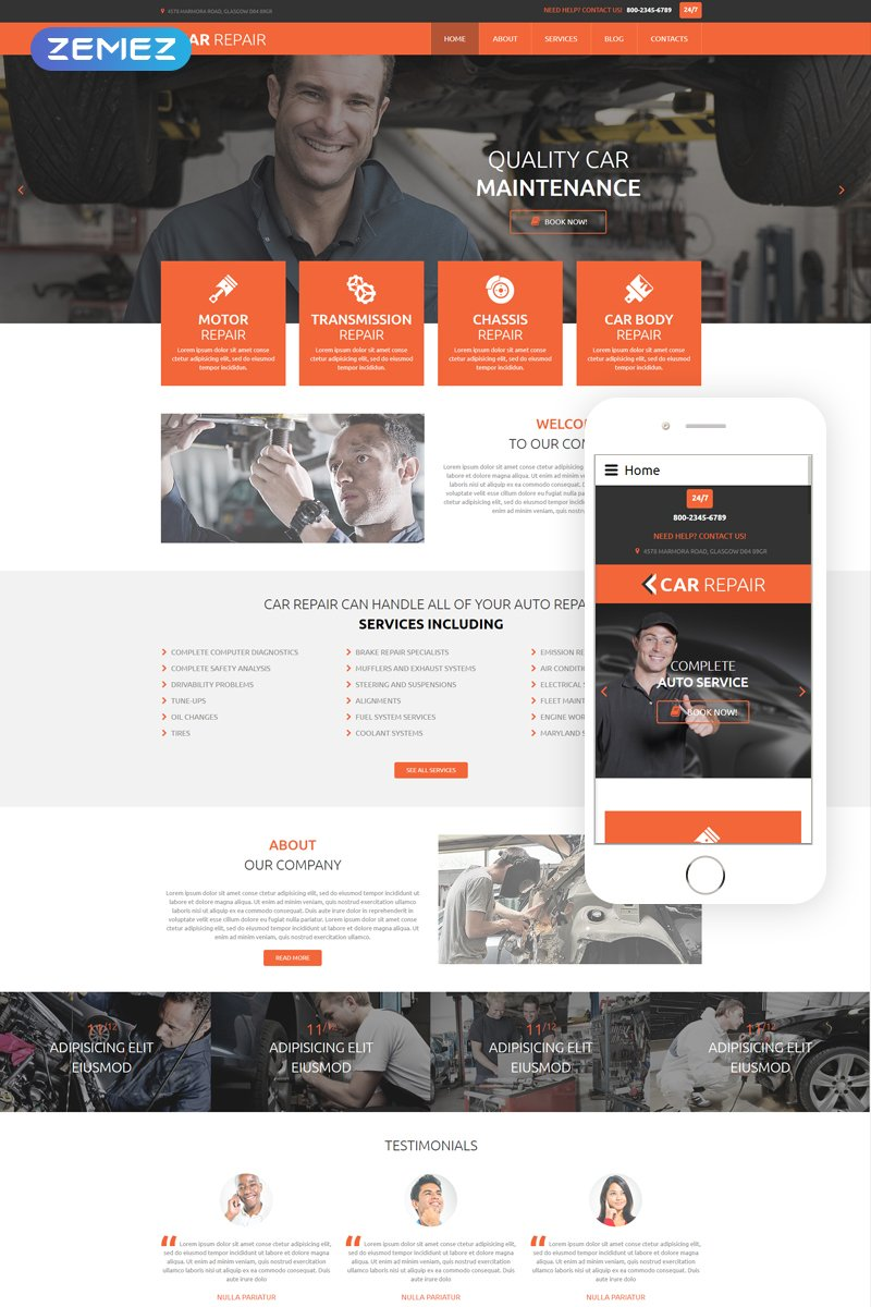Responsive Car Repair Joomla #55179