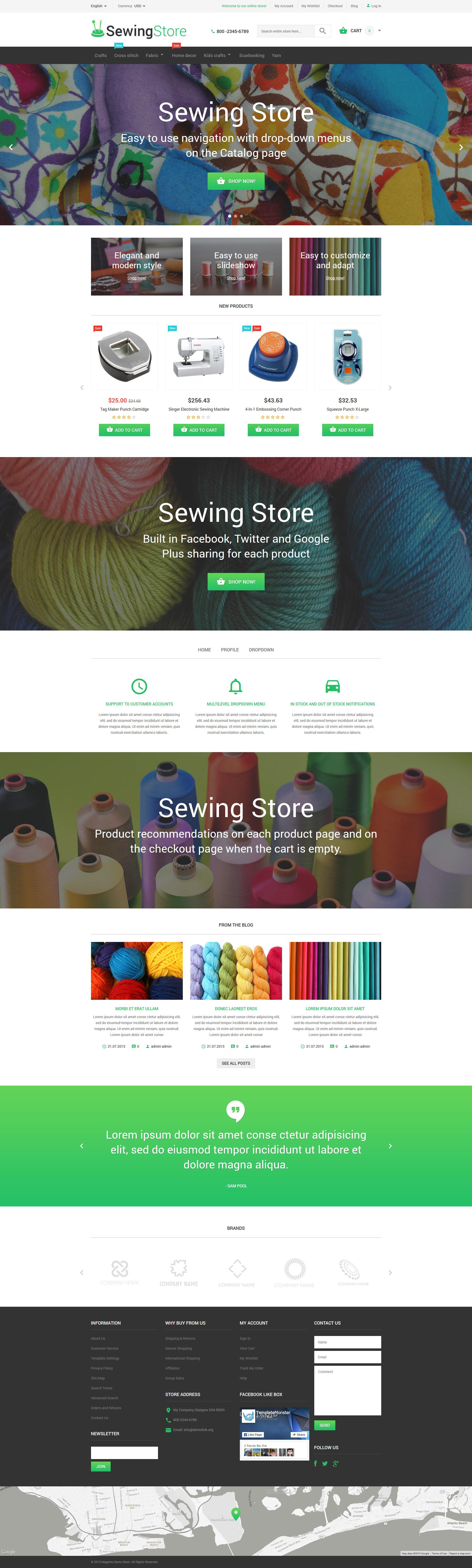Responsivt Sewing Store Magento-tema #55176
