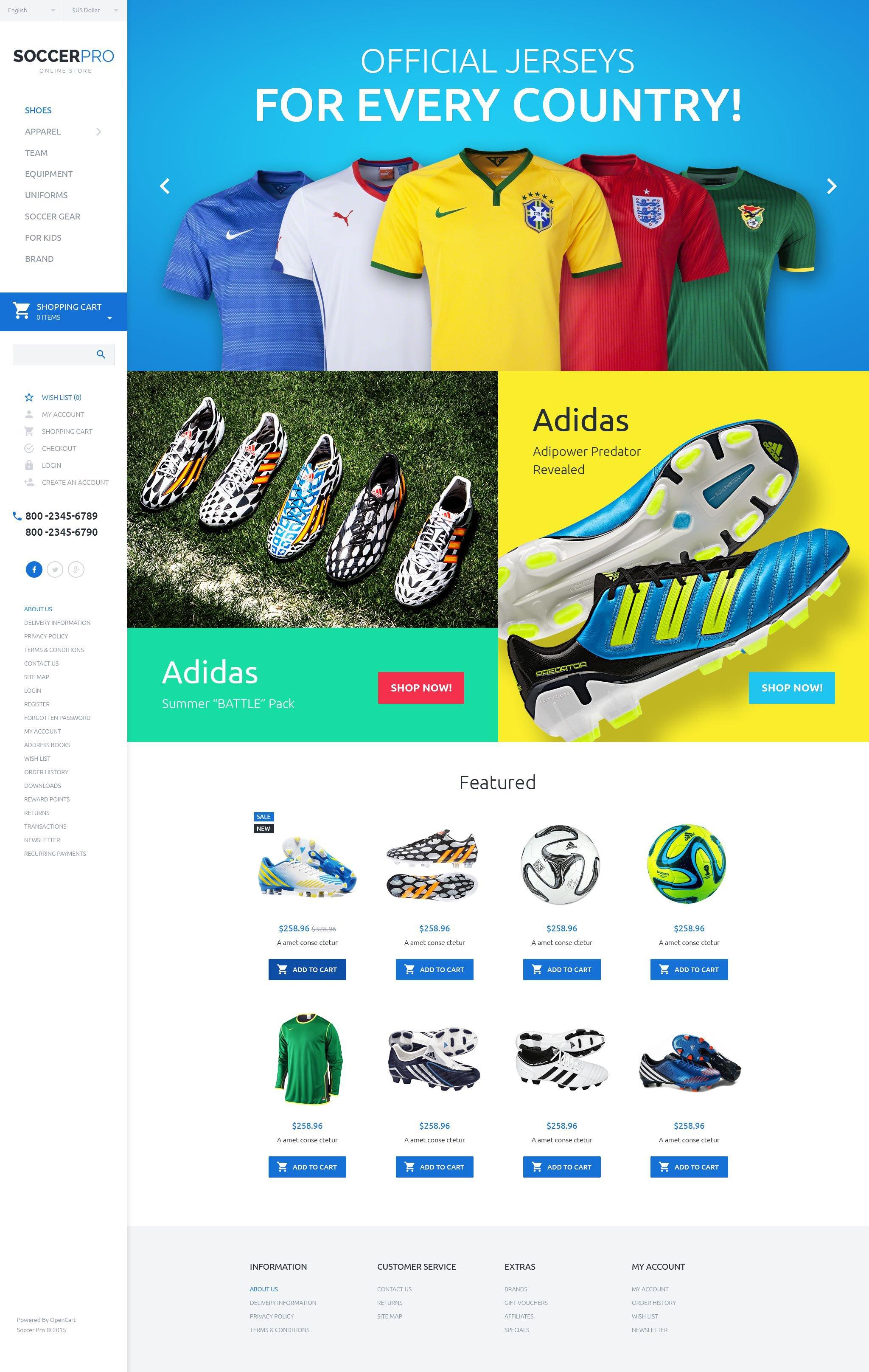"""SoccerPro"" Responsive OpenCart Template №55190"