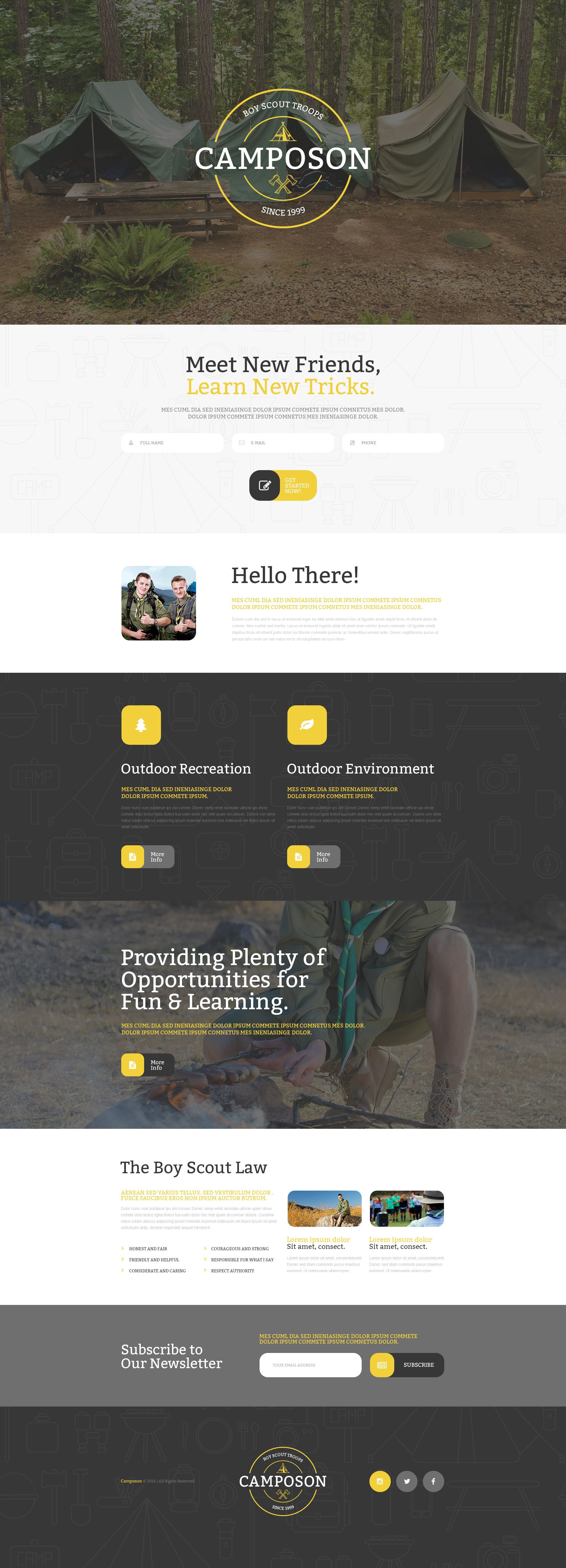 Summer Camp Responsive Landing Page Template #55195