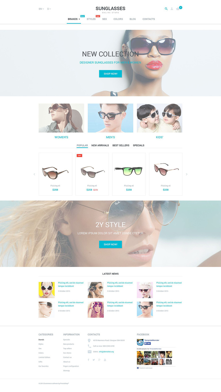 Sunglasses PrestaShop Theme New Screenshots BIG