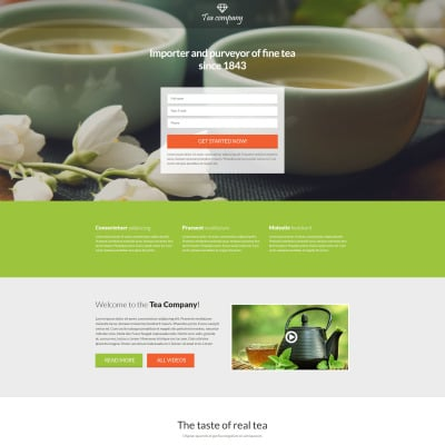 Tea Shop Responsive Landing Page Template 58269