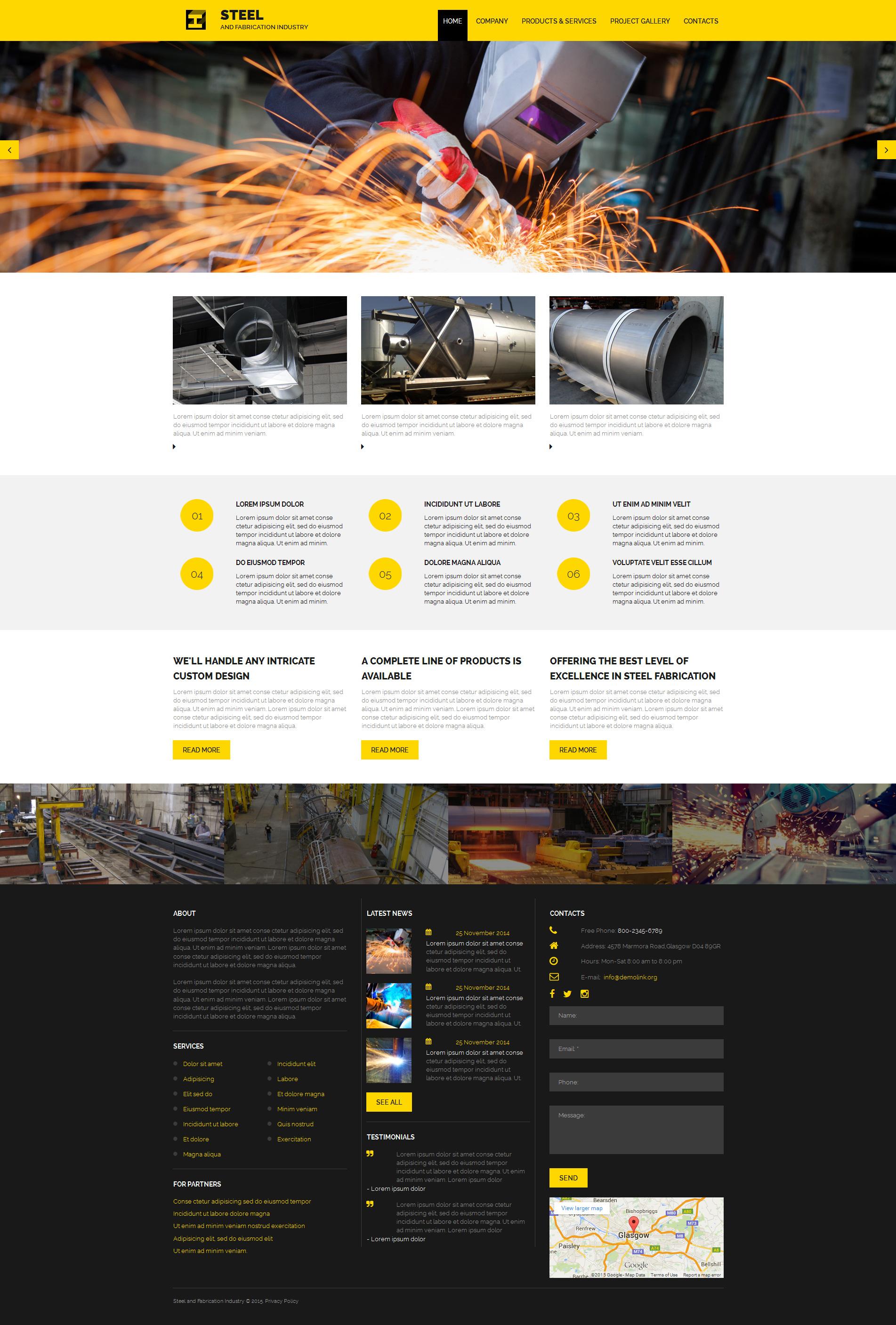 Templates Moto CMS 3 Flexível para Sites de Metalúrgicas №55126